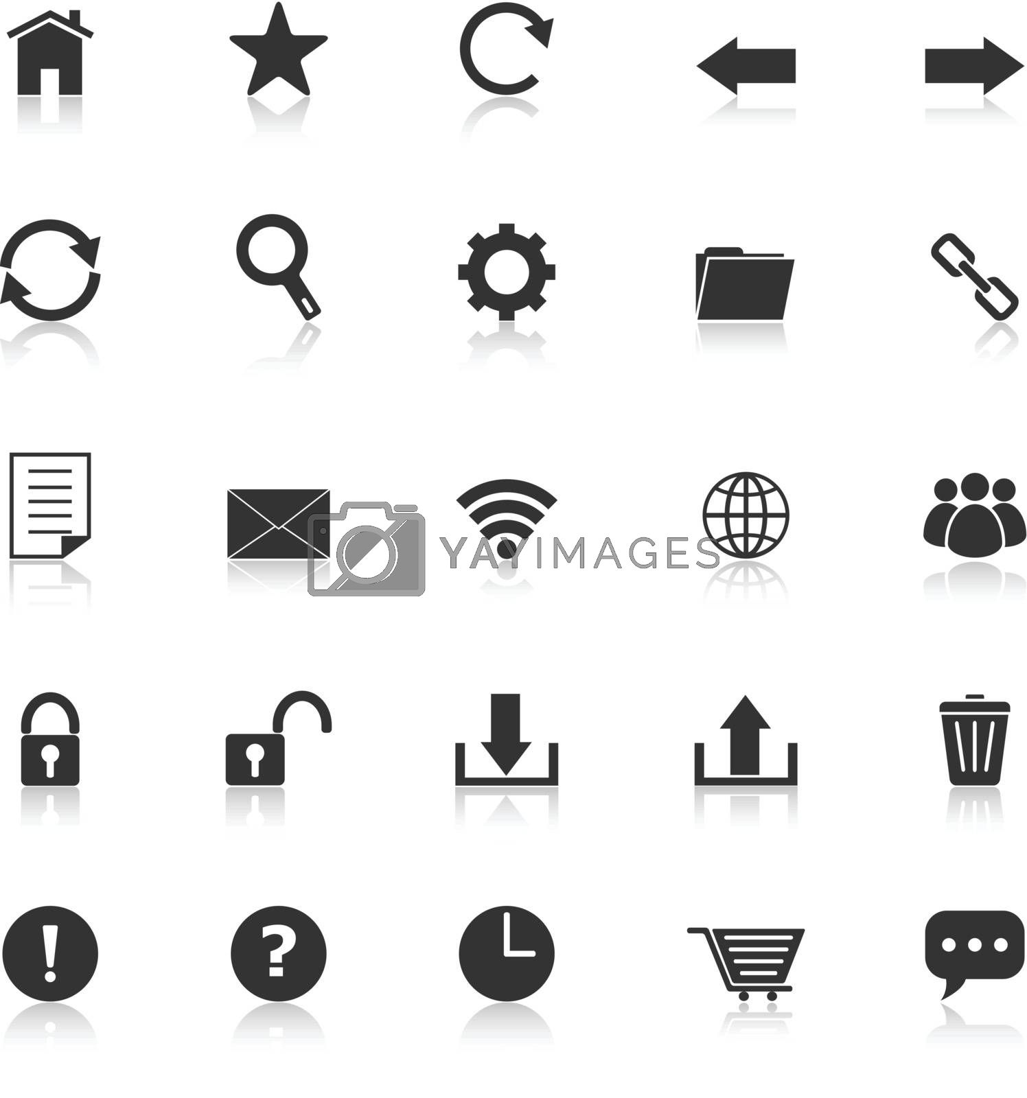 Tool bar icons with reflect on white background, stock vector