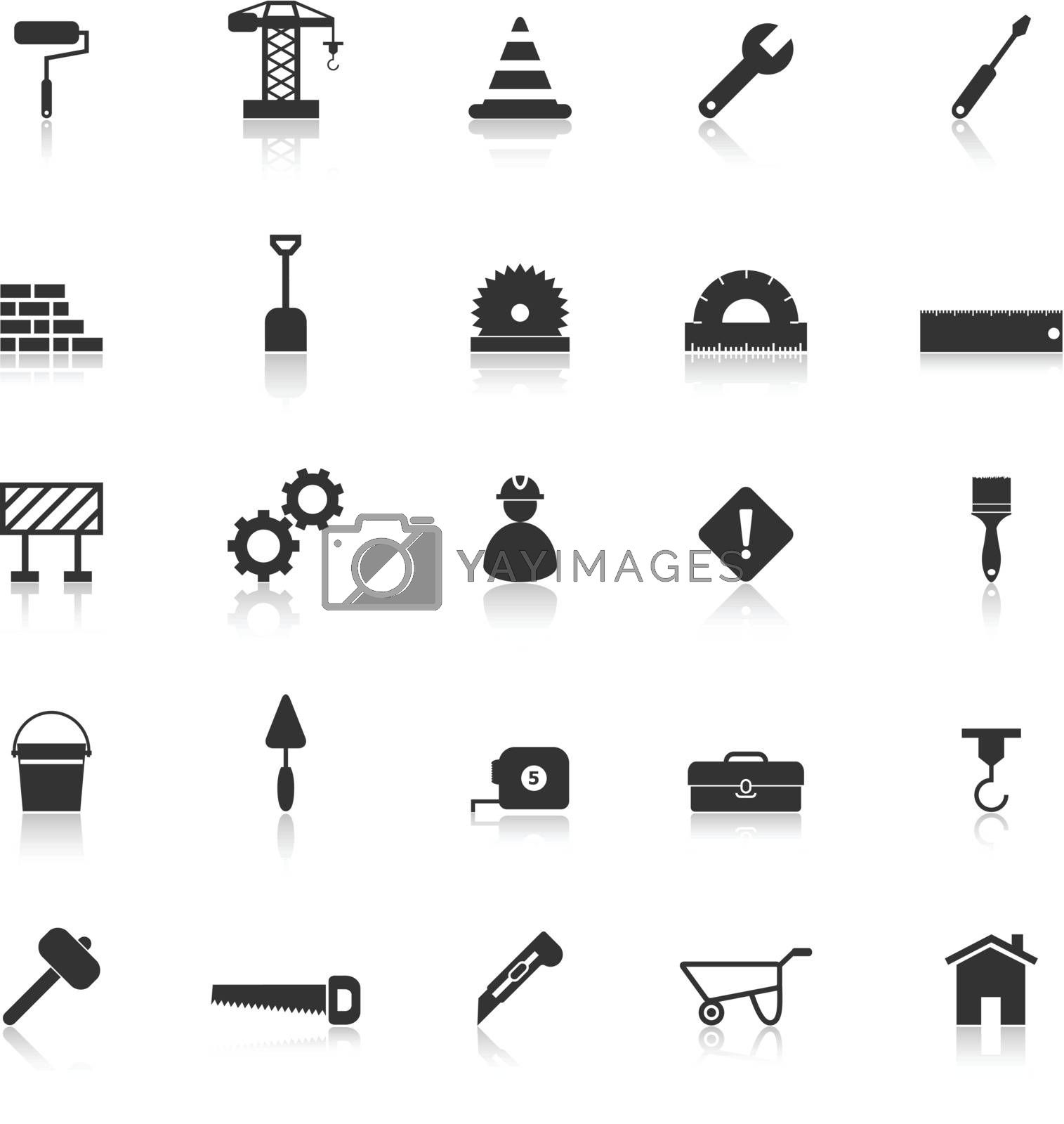 Construction icons with reflect on white background, stock vector