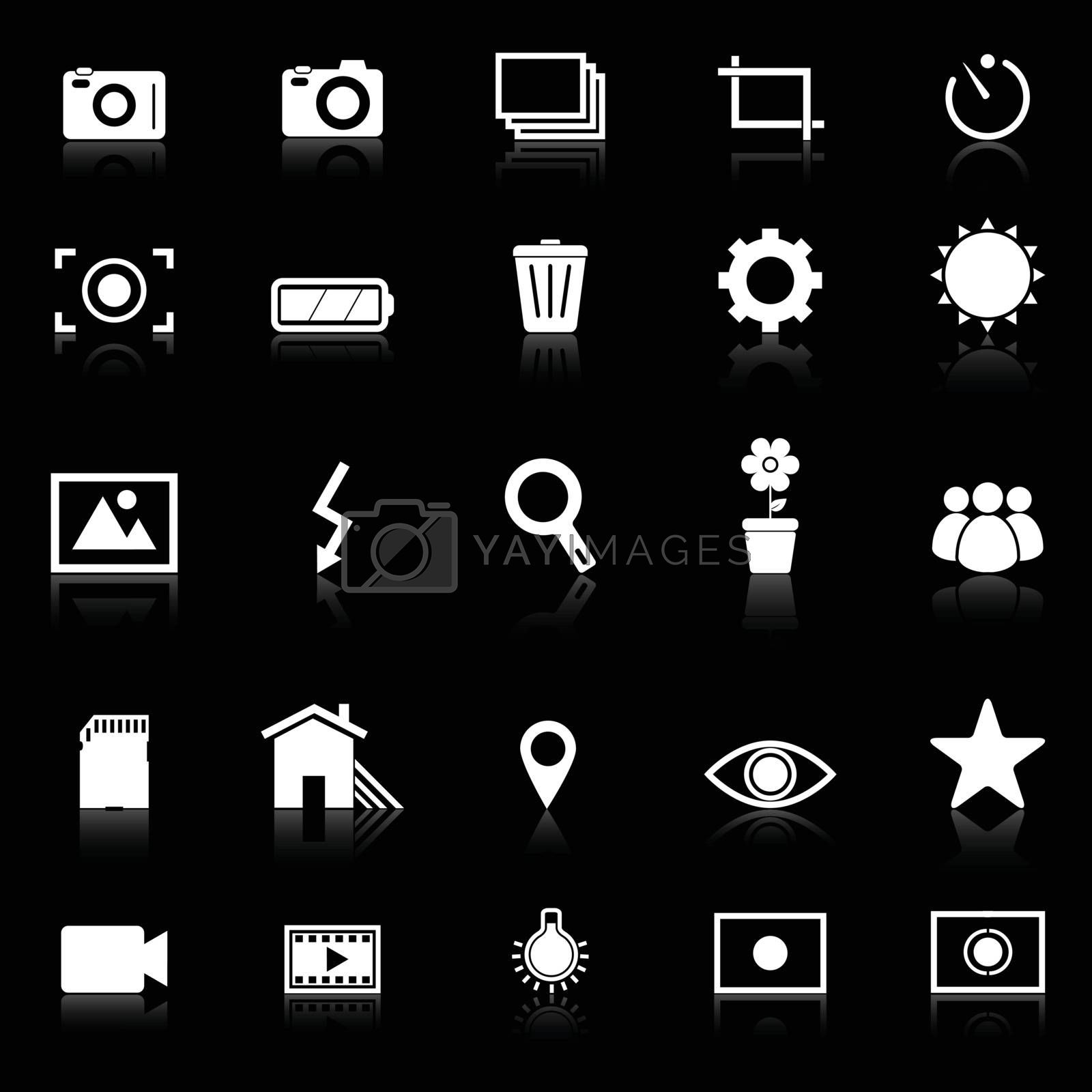 Photography icons with reflect on black background, stock vector