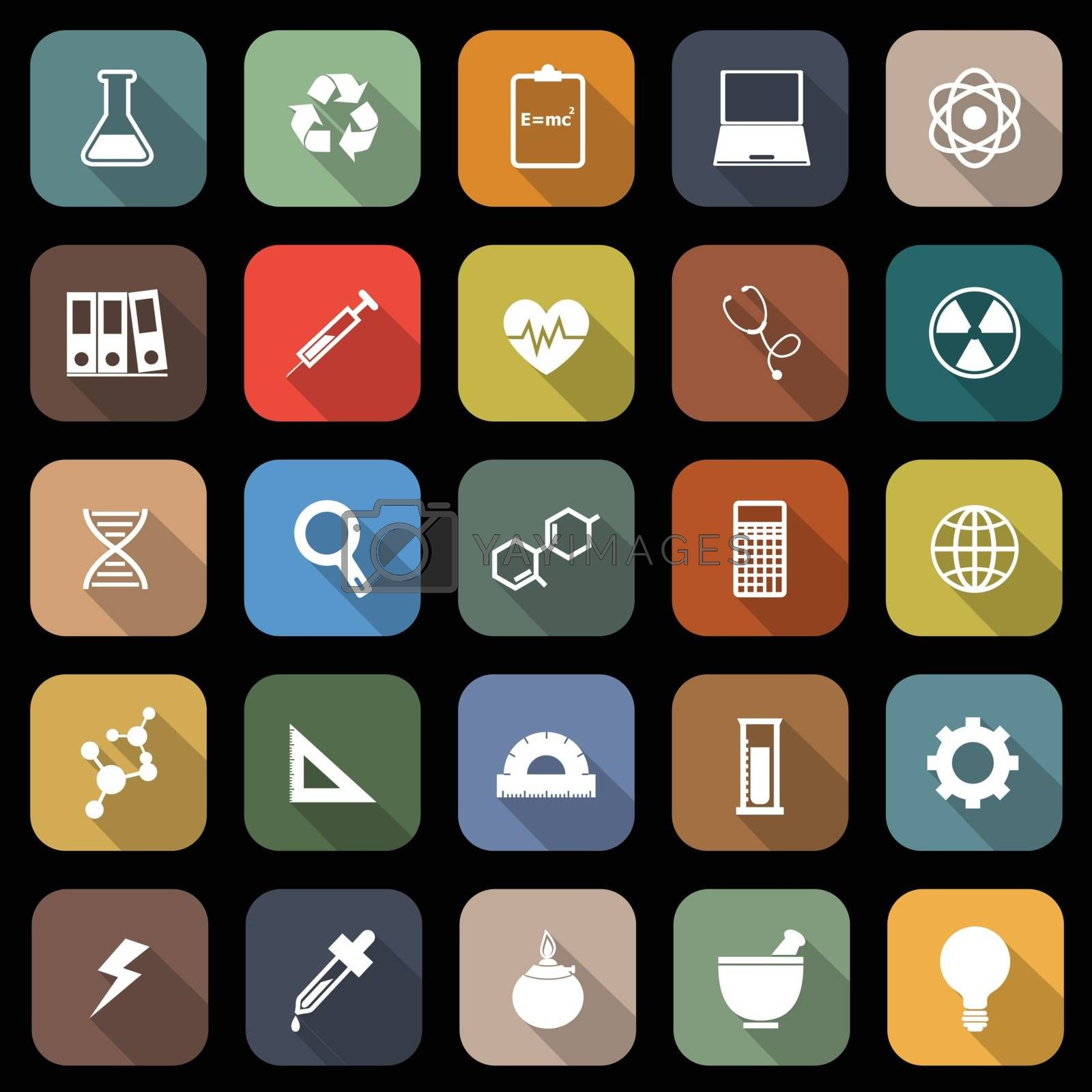 Science flat icons with long shadow, stock vector