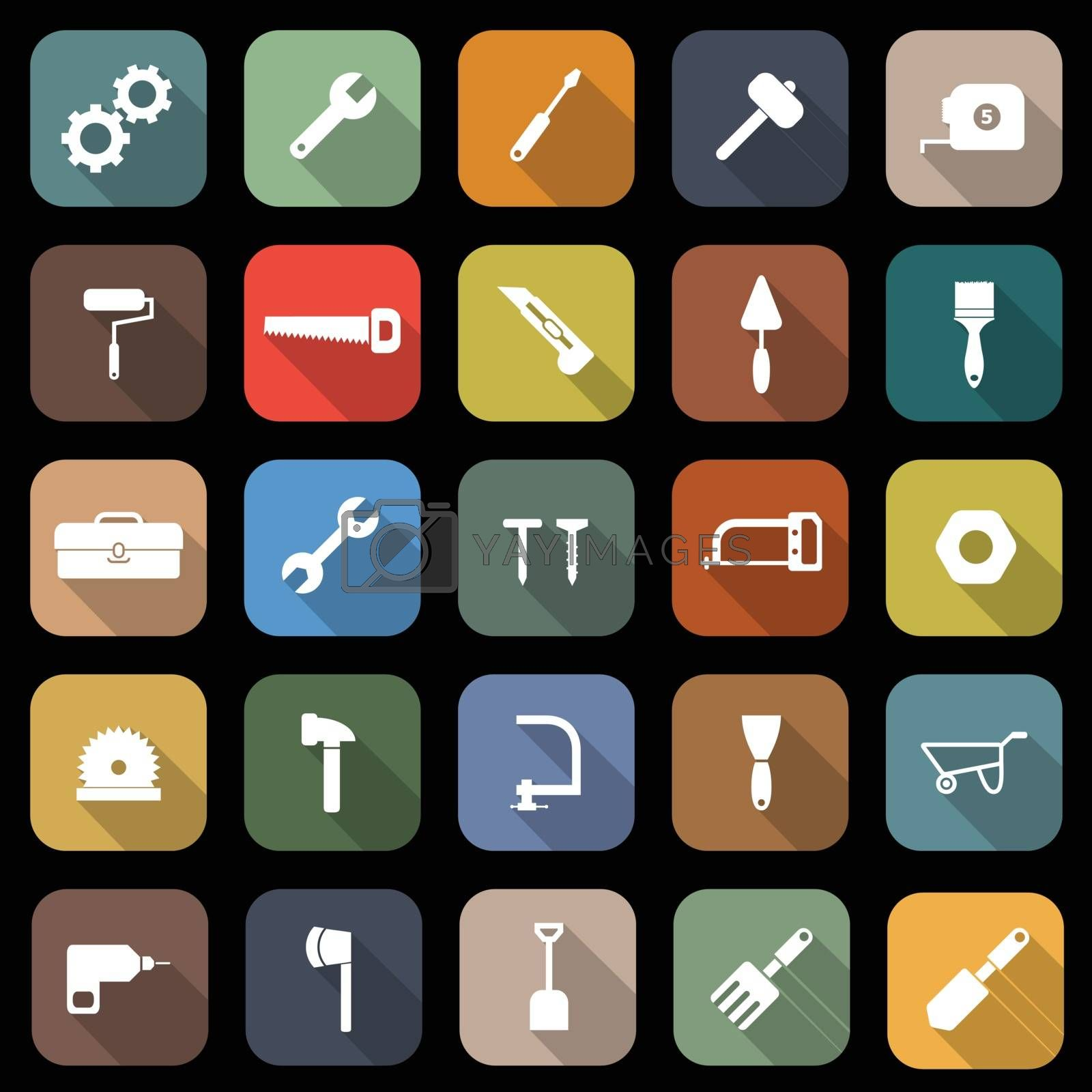 Tool flat icons with long shadow, stock vector