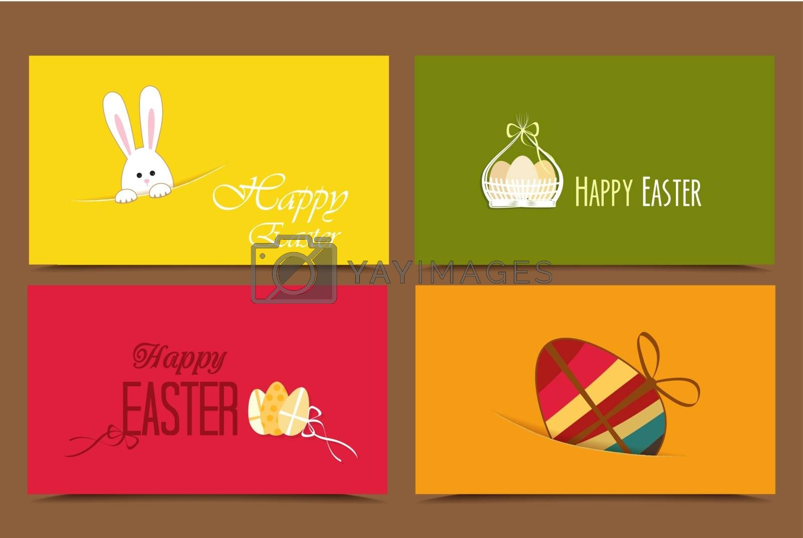 Four cards with background Easter basket and eggs, rabbit