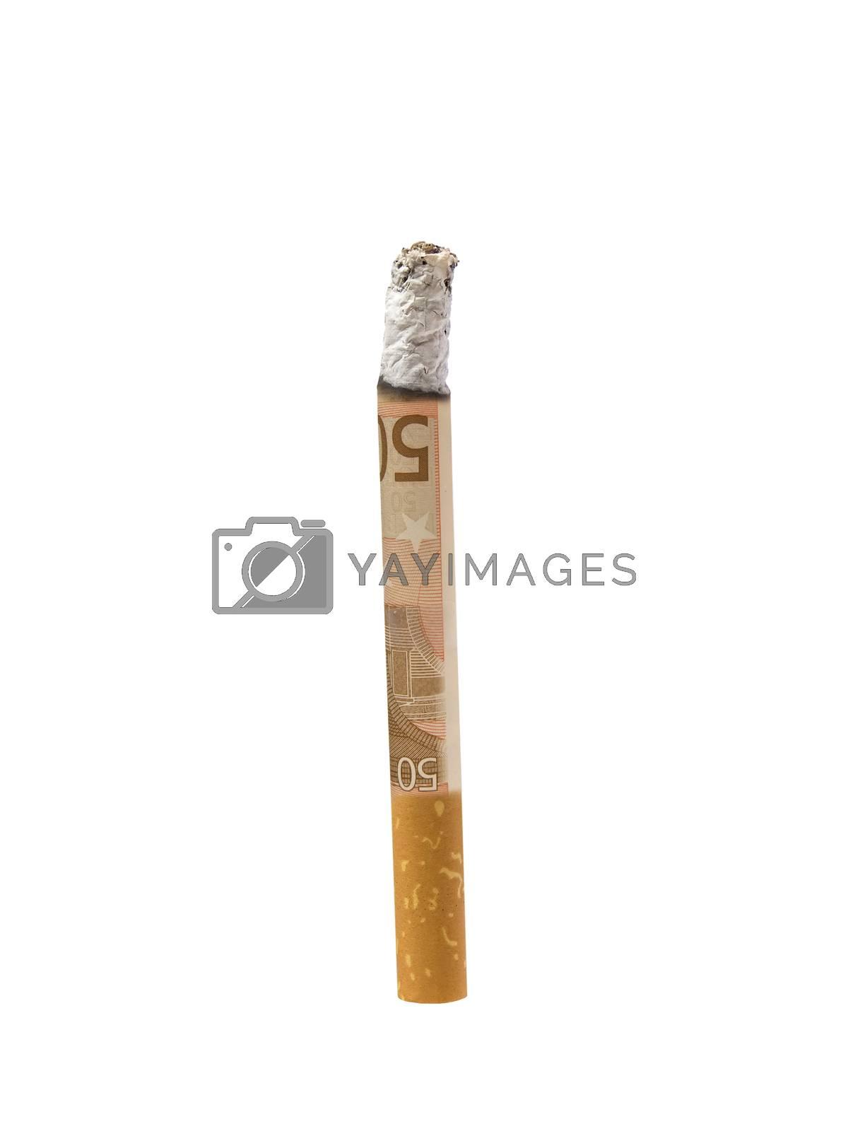 50 euro cigarette isolated on white