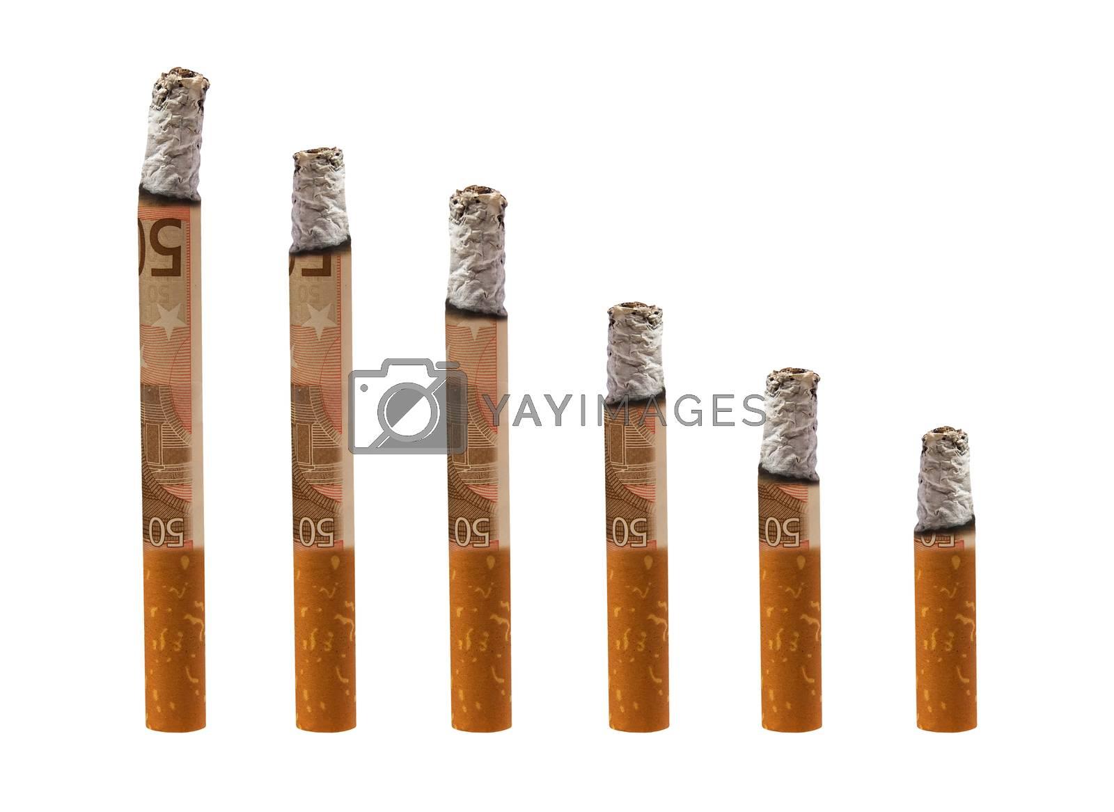 six euro cigarettes on white background