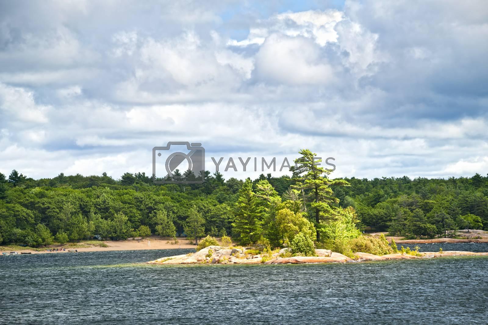 Small island and beach in Killbear provincial park near Parry Sound, Ontario Canada