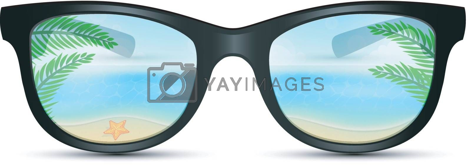 Vector illustration of Summer sunglasses with beach reflection