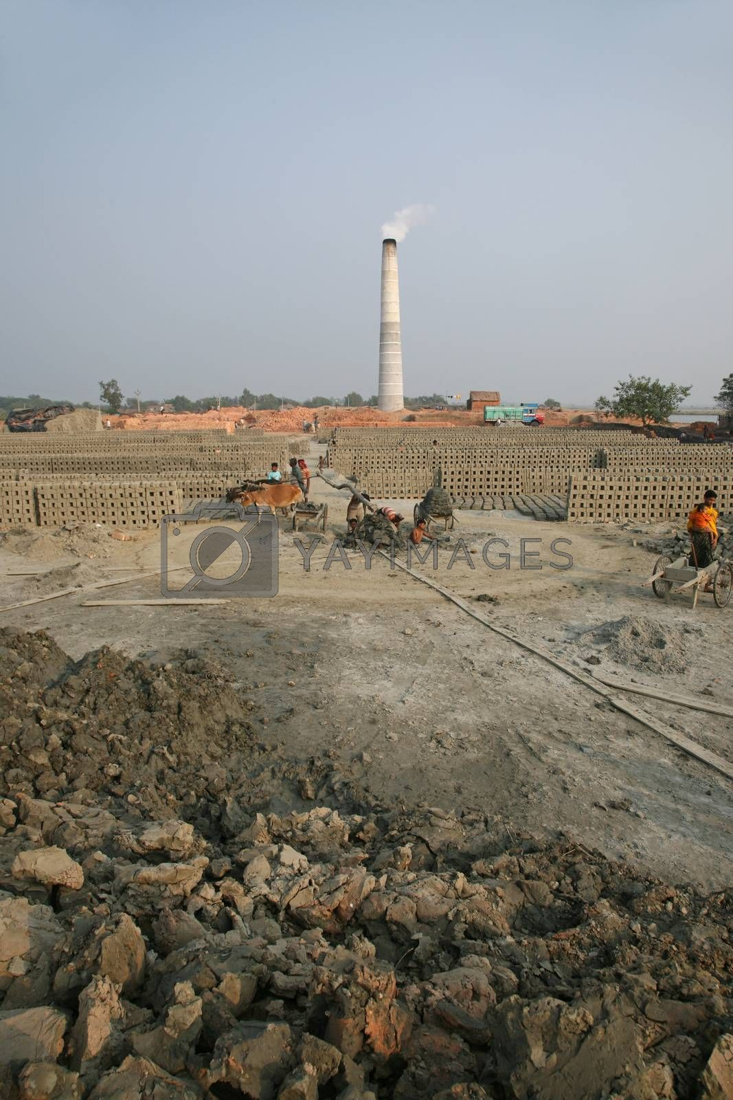 A Brick field is a large landed area, used for manufacturing bricks from mud, soil, clay and sand. Tools and machines for making bricks are very rudimentary, January 16, 2009 in Sarberia, West Bengal, India.