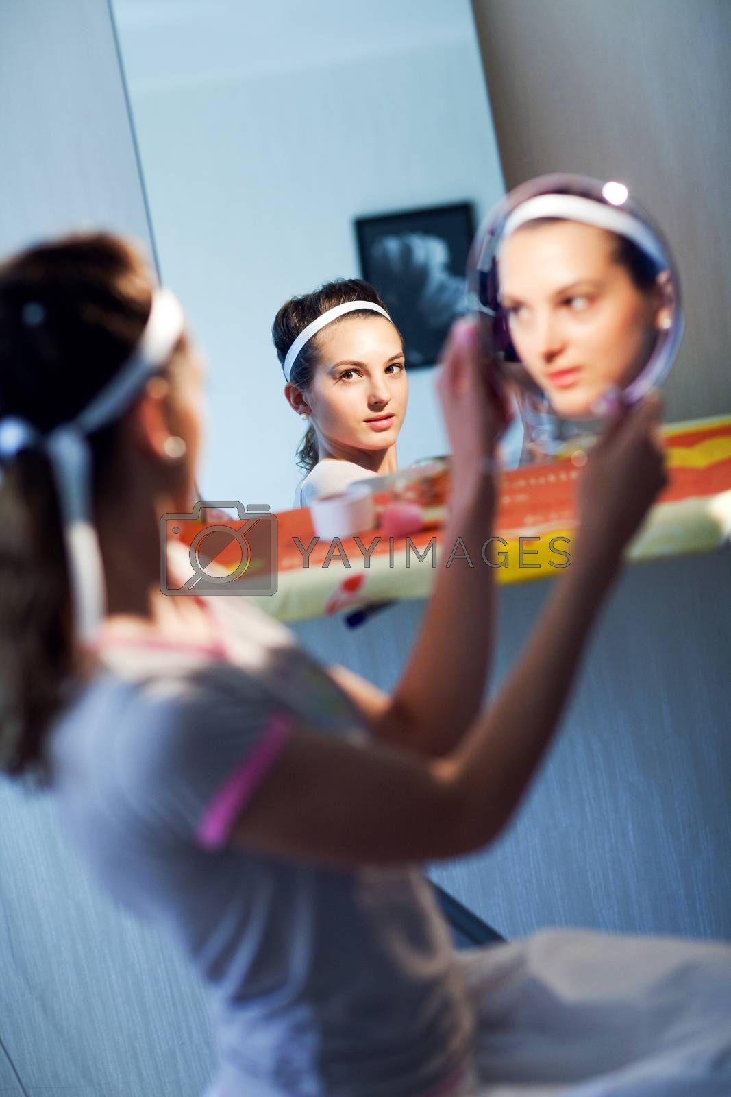 bride with mirrors