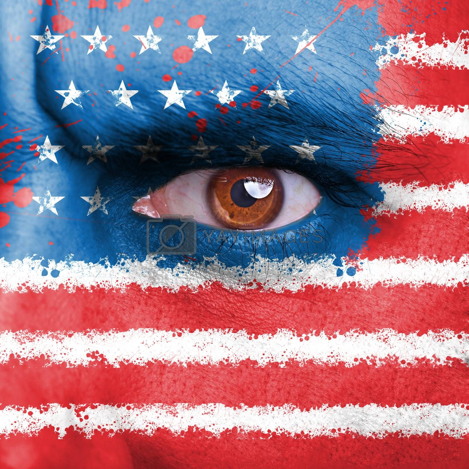 USA flag painted on angry man face