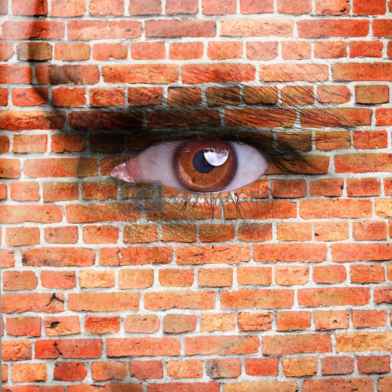 face covered with brick wall pattern