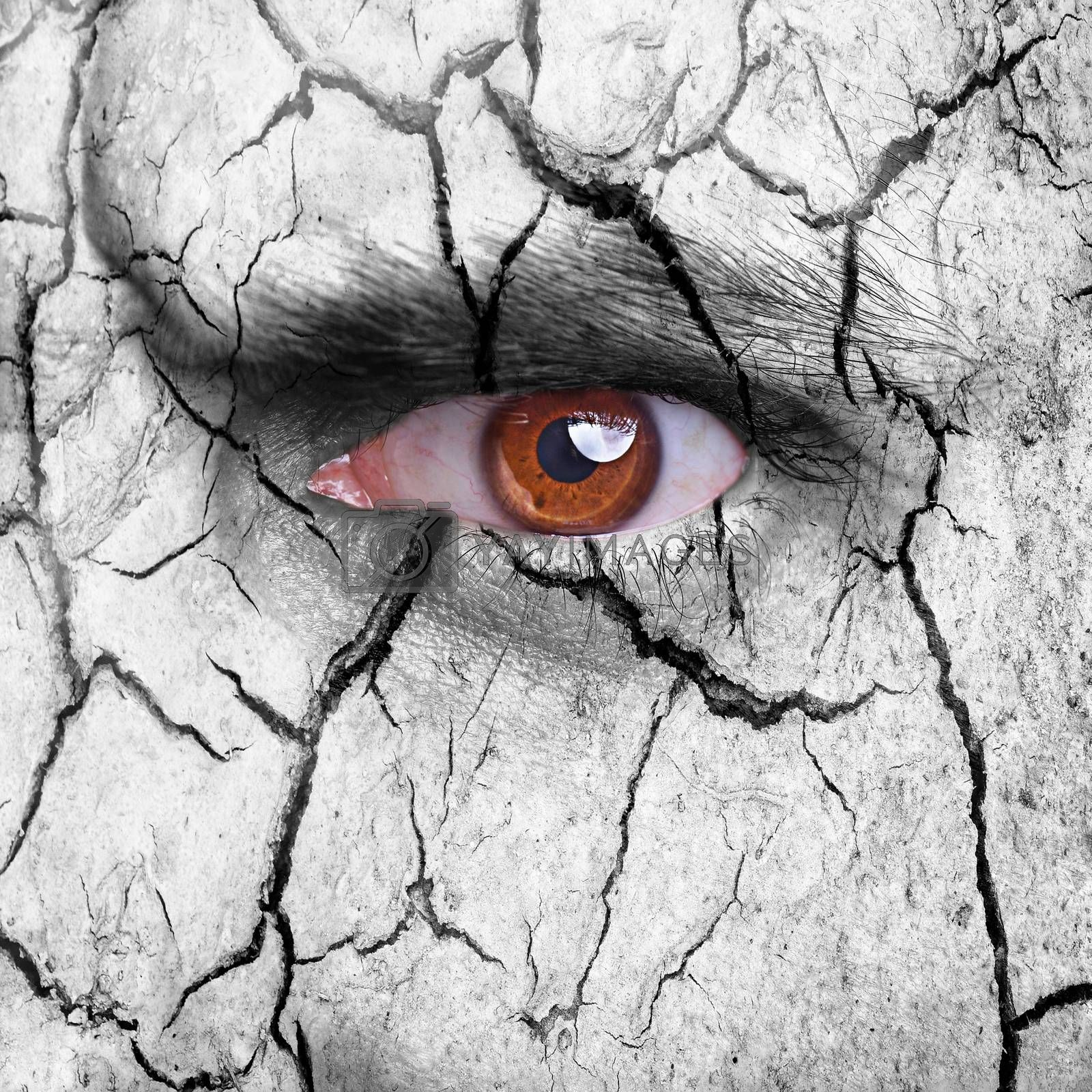 Nature concept - carcked earth surface with brown eye
