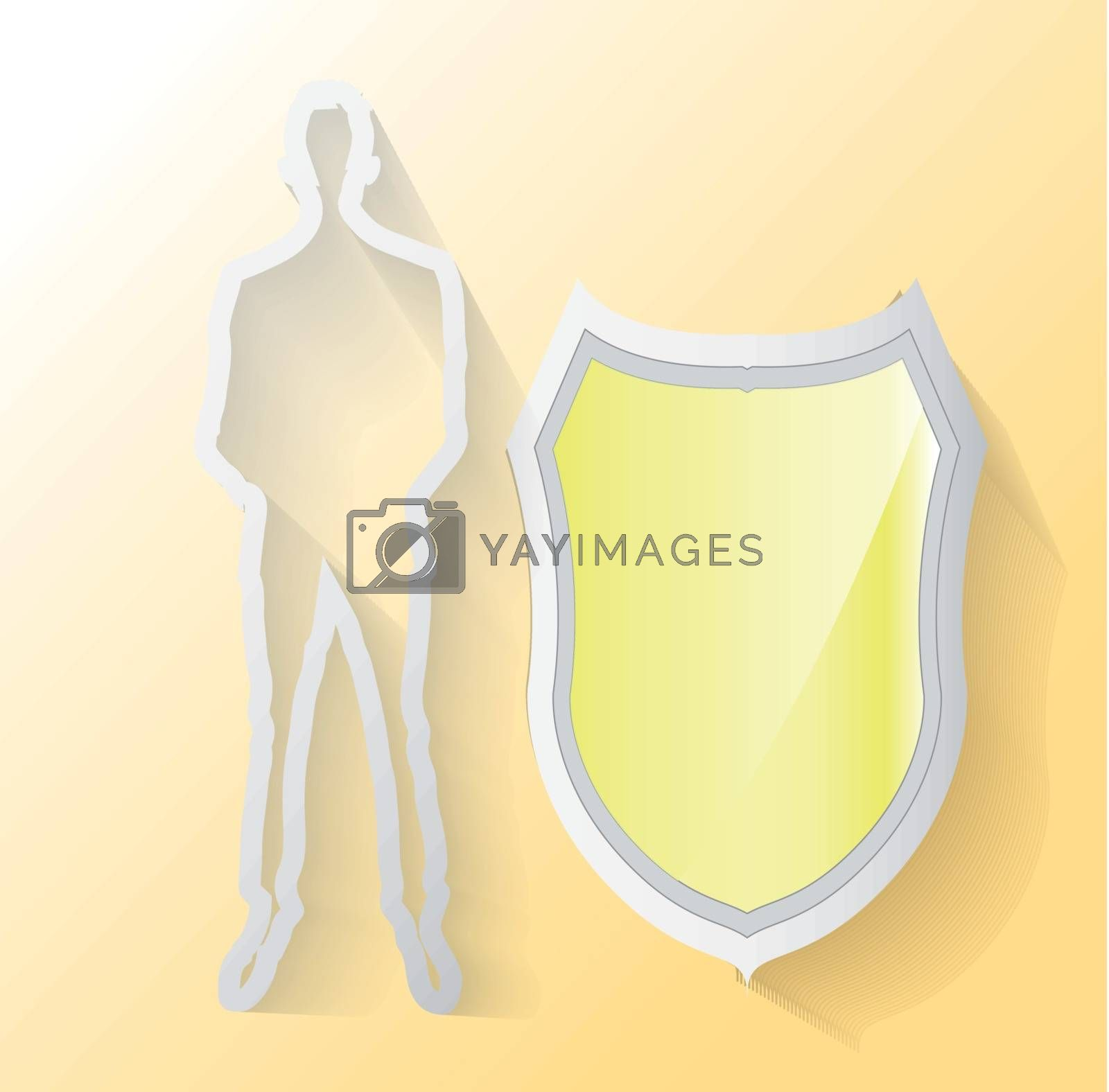 Illustration of business man with yellow shield