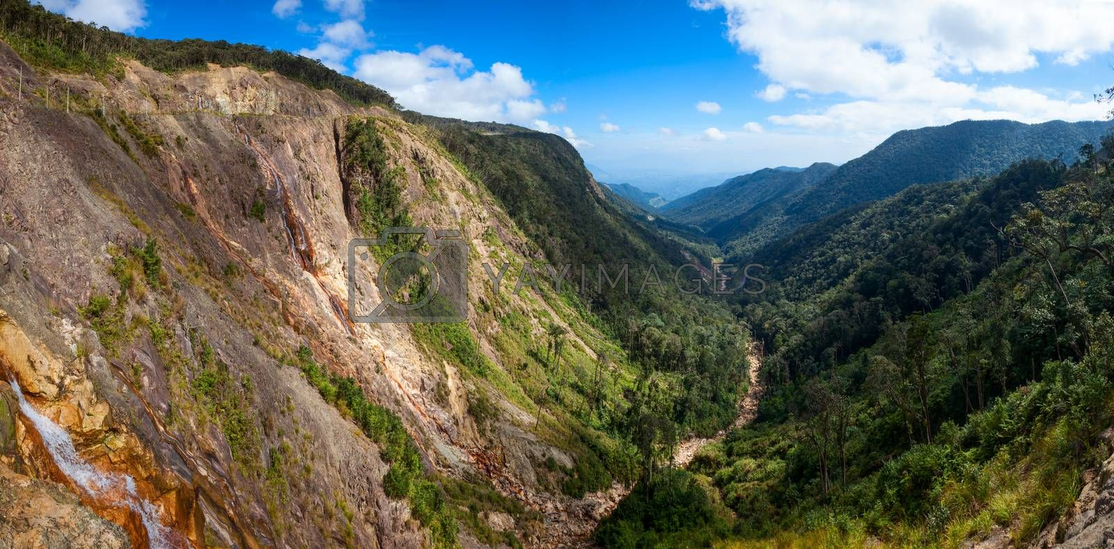 Panoramic view of mountain valley in Vietnam