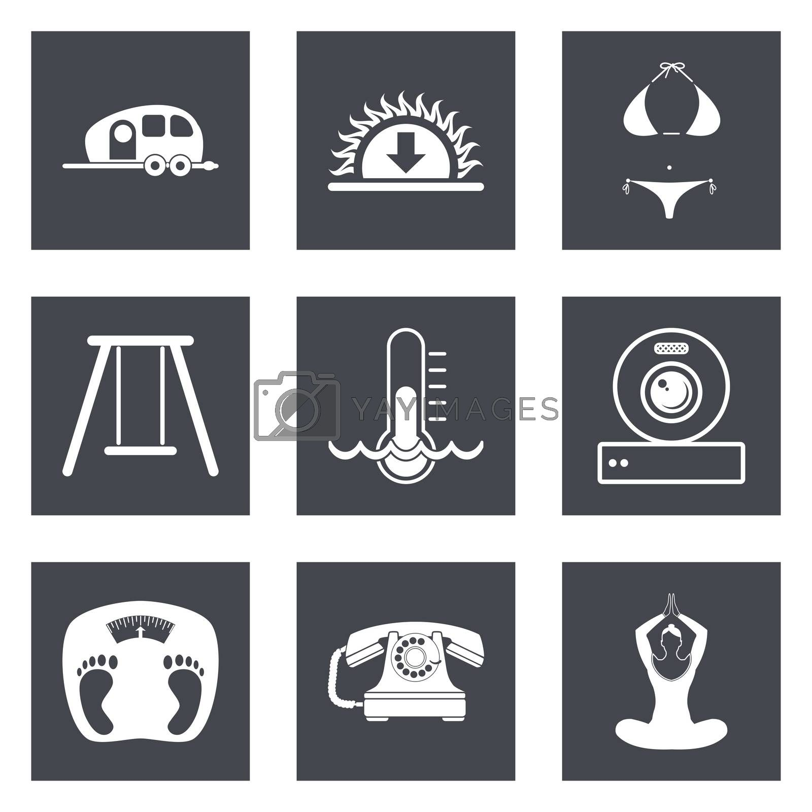 Icons for Web Design and Mobile Applications set 10. Vector illustration.
