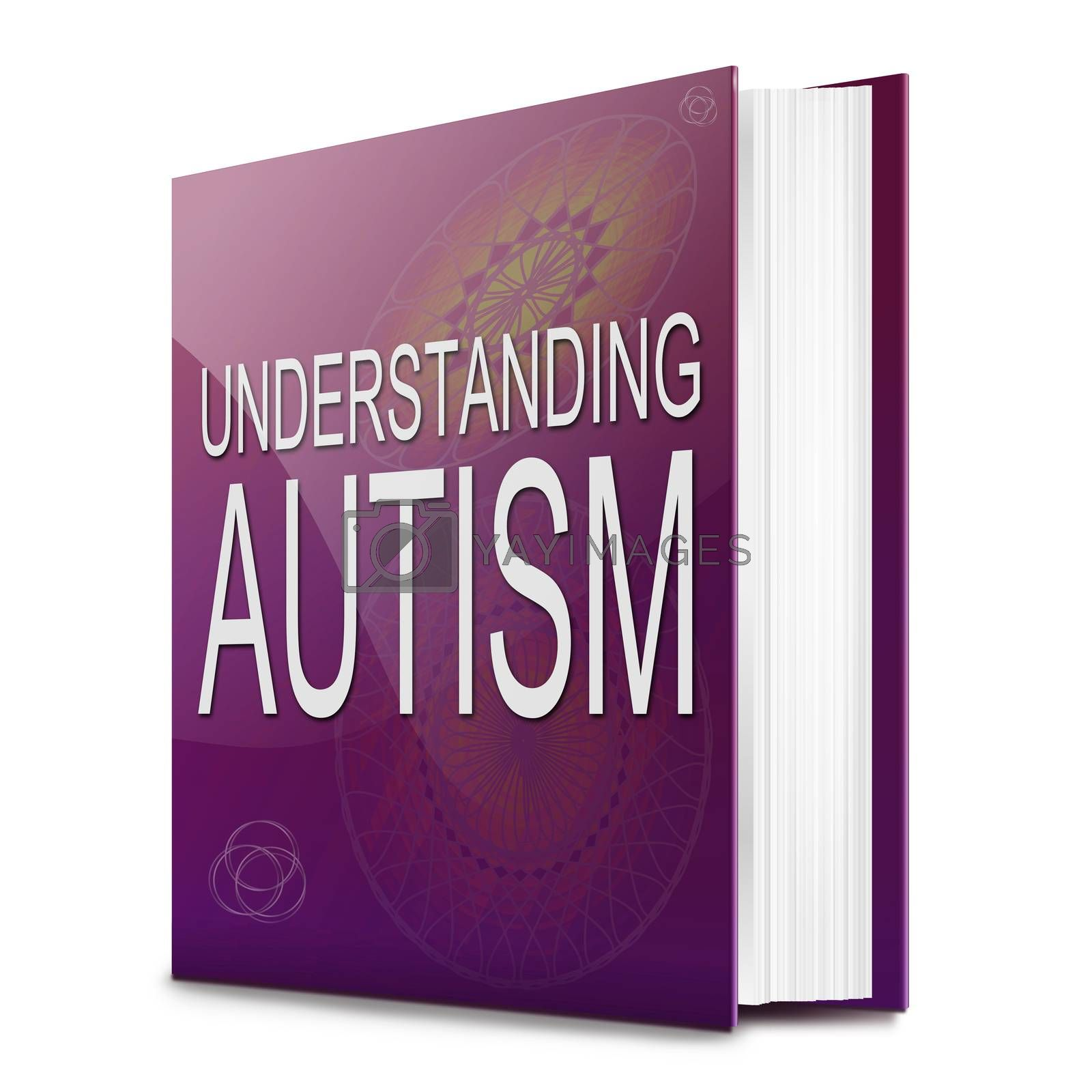 Illustration depicting a text book with an Autism concept title. White background.