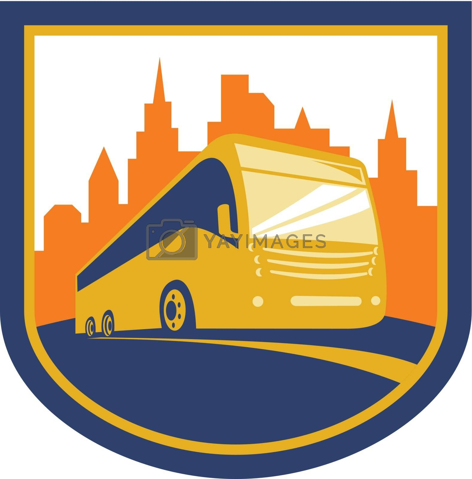 Illustration of a tourist coach bus shuttle viewed from low angle with city buildings in background set inside shield crest done in retro style on isolated background.