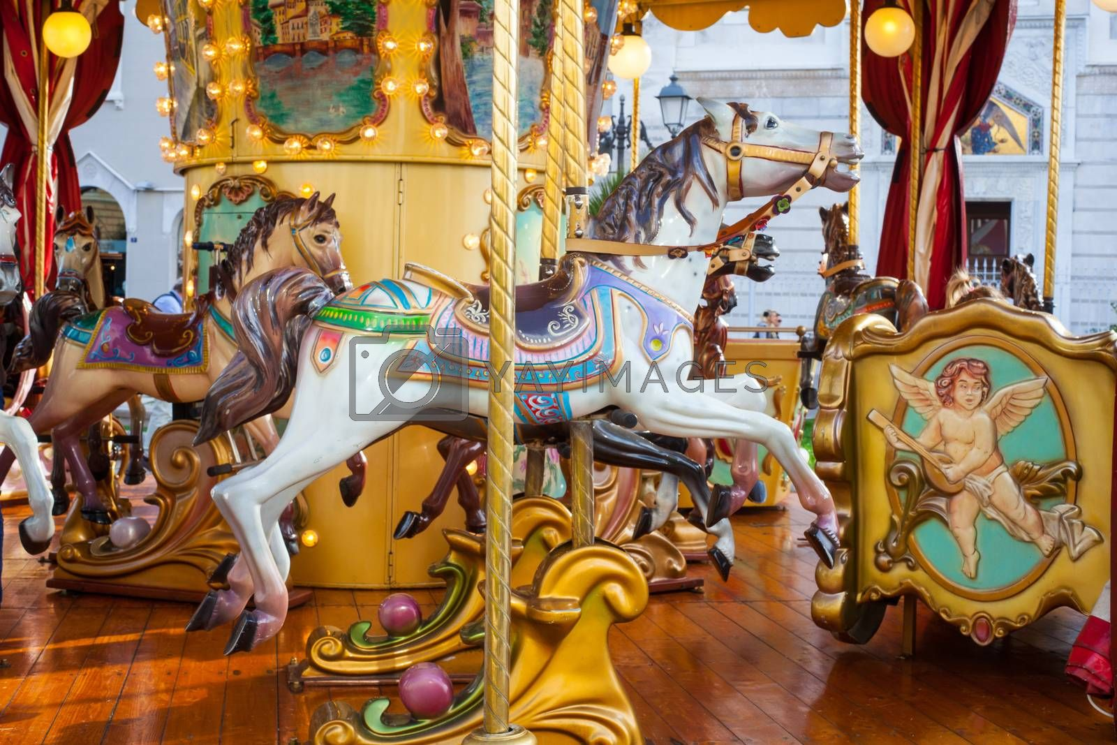 View of horses in the carousel in Trieste