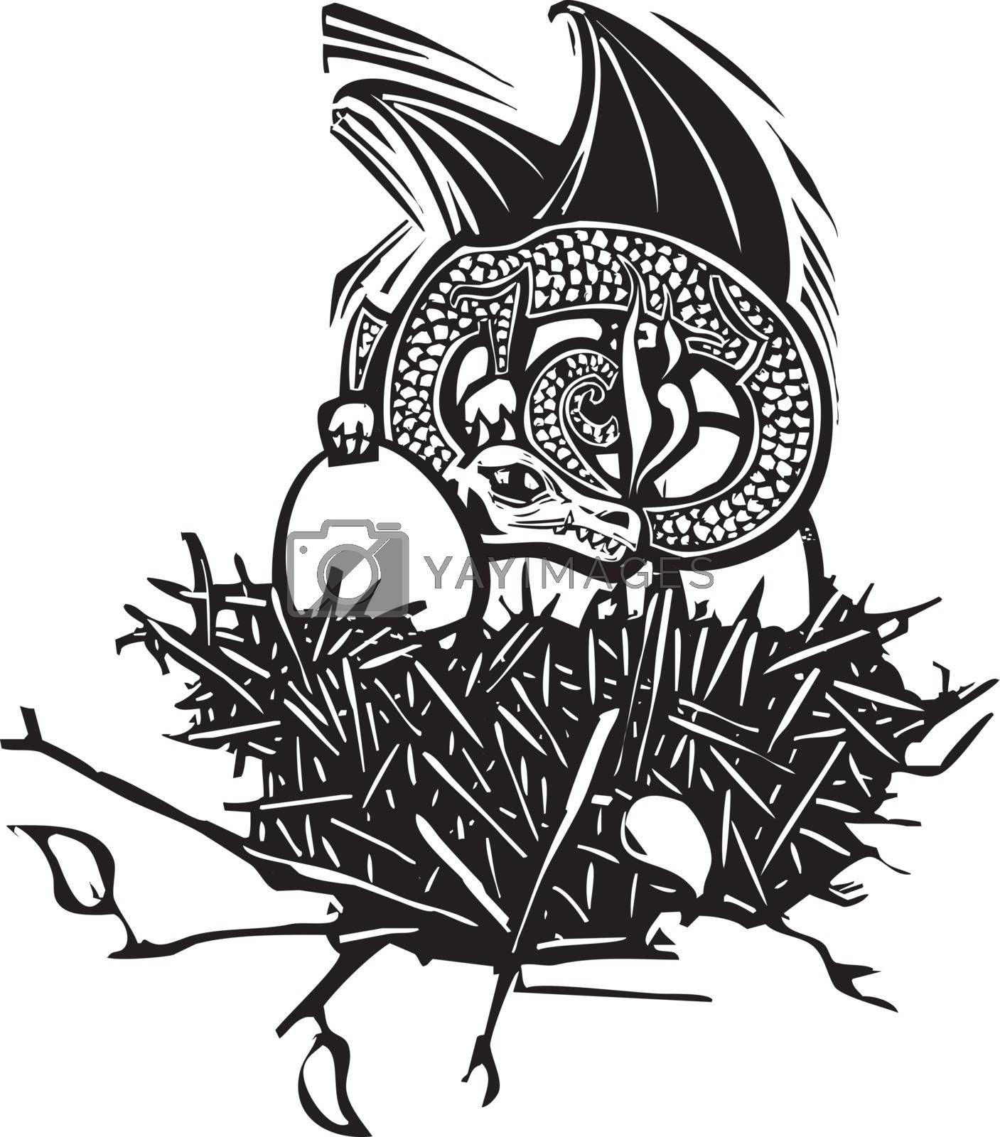 Woodcut style image of a dragon sleeping in a nest with eggs.