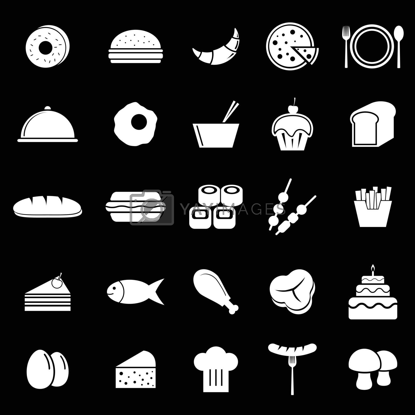 Food icons on black background, stock vector
