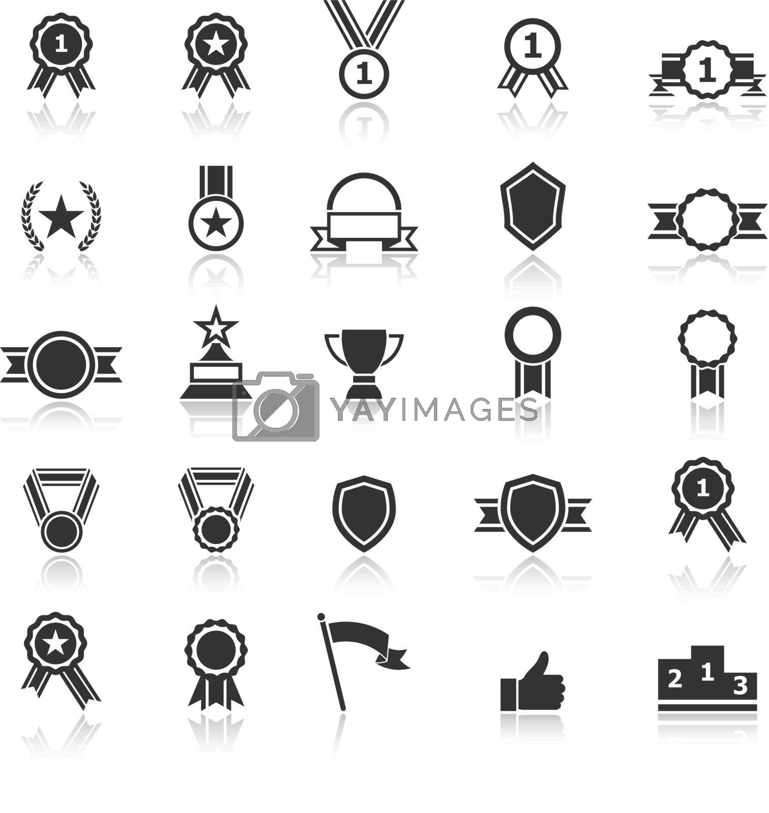 Award icons with reflect on white background, stock vector