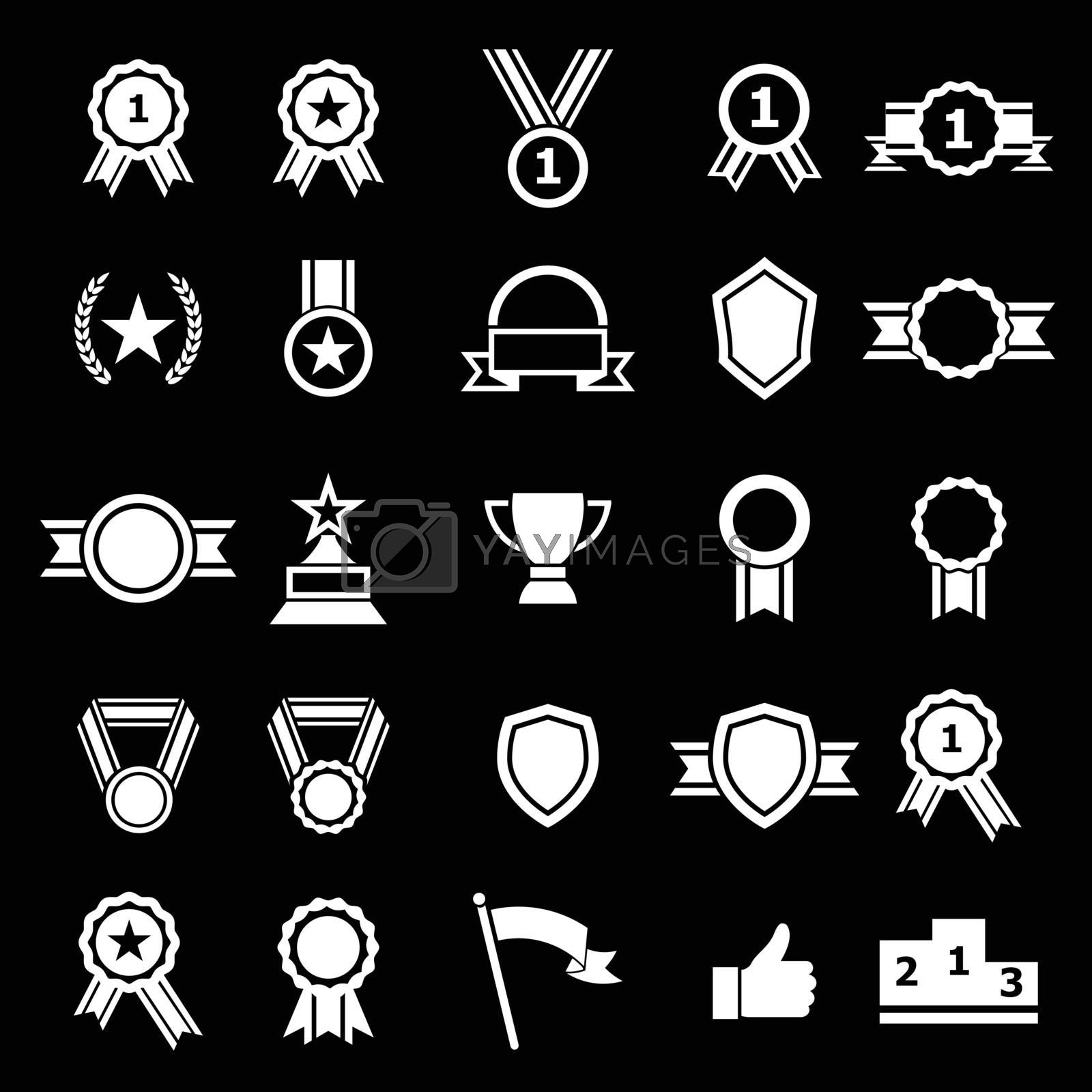 Award icons on black background, stock vector