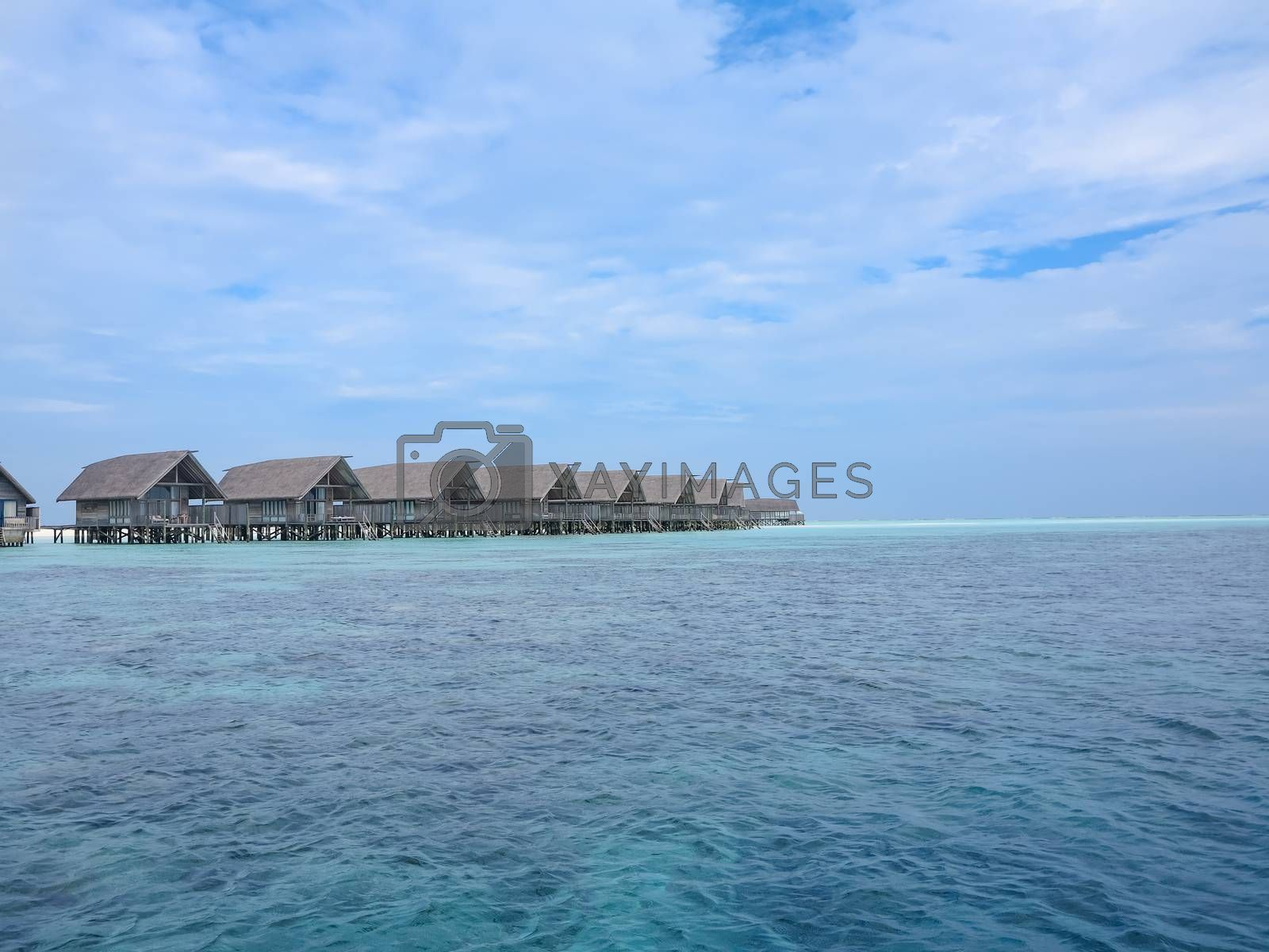 Over water villas on the tropical island