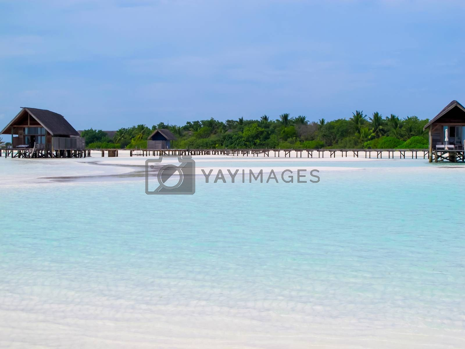 Water village in the Maldives islands