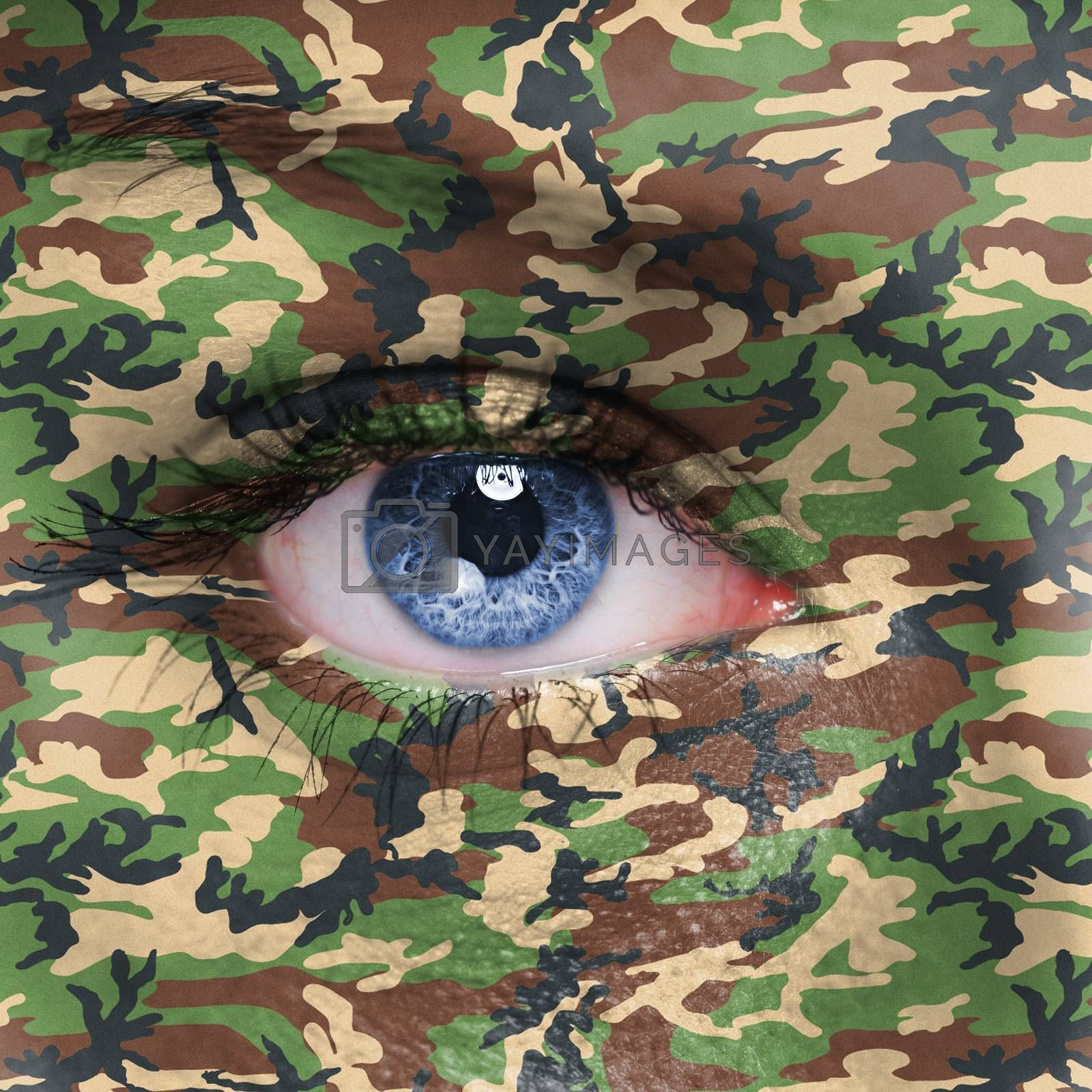Jungle camouflage on human face