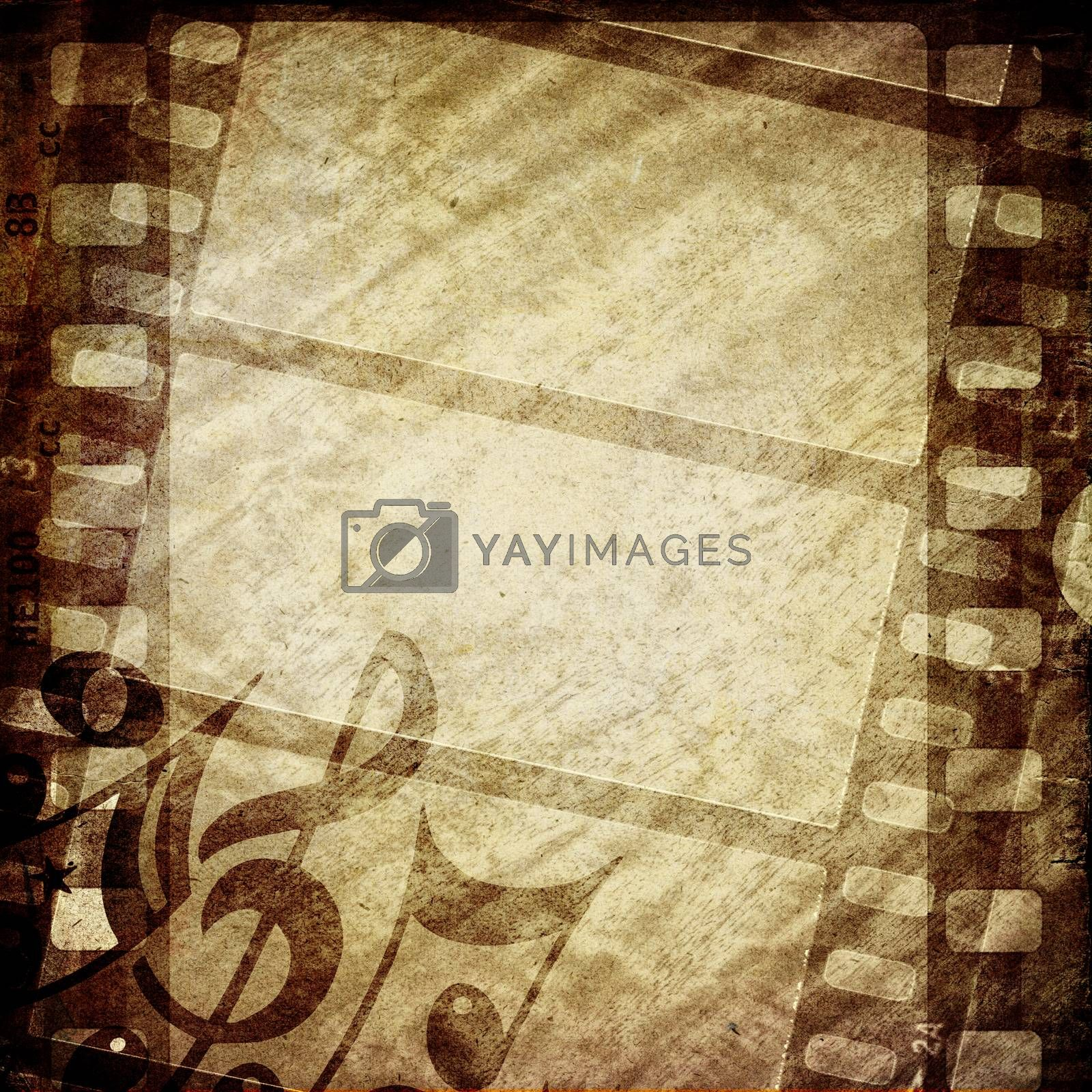 Highly detailed grunge textured film frame