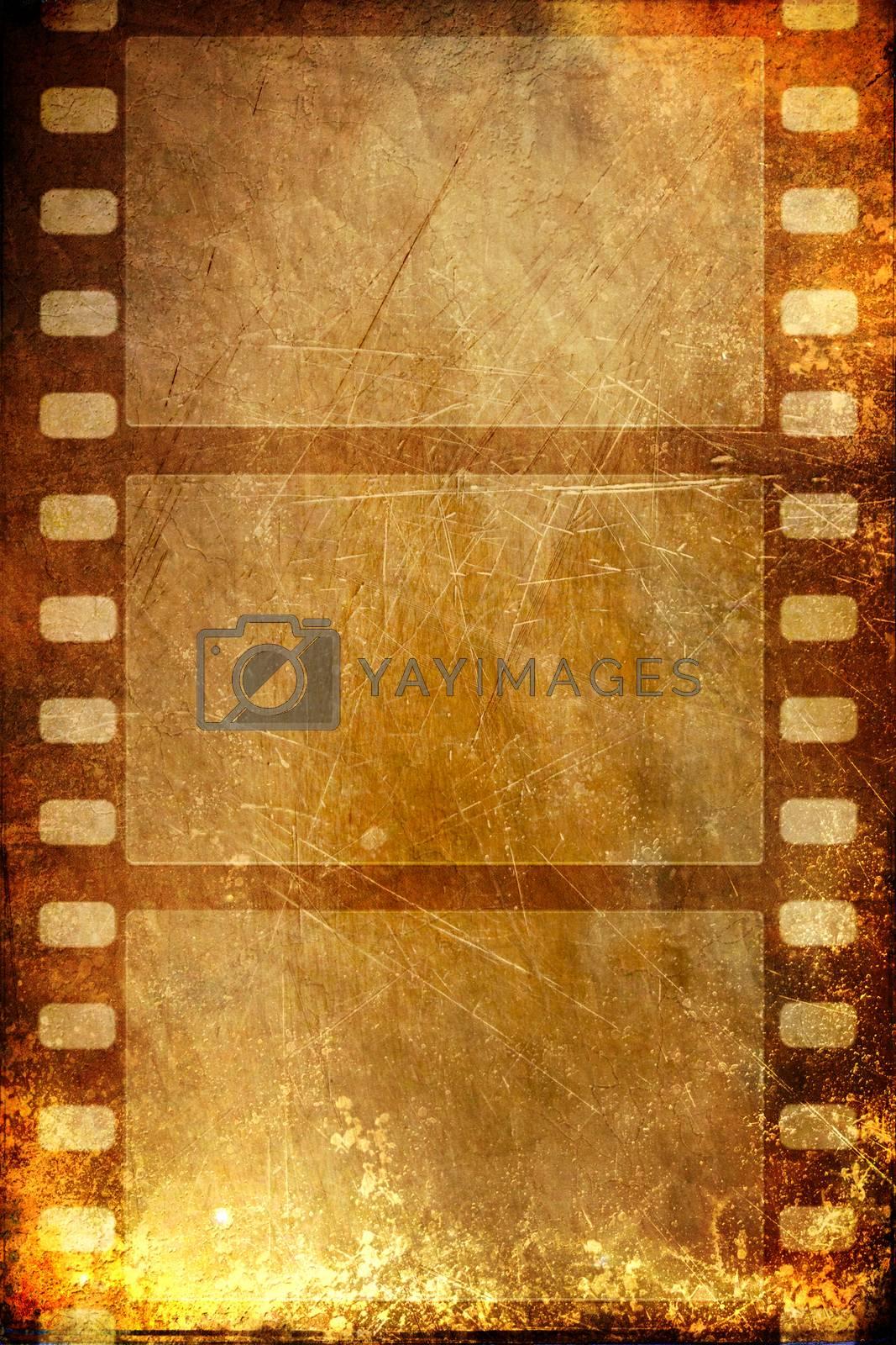 Grunge film frame, isolated over white background
