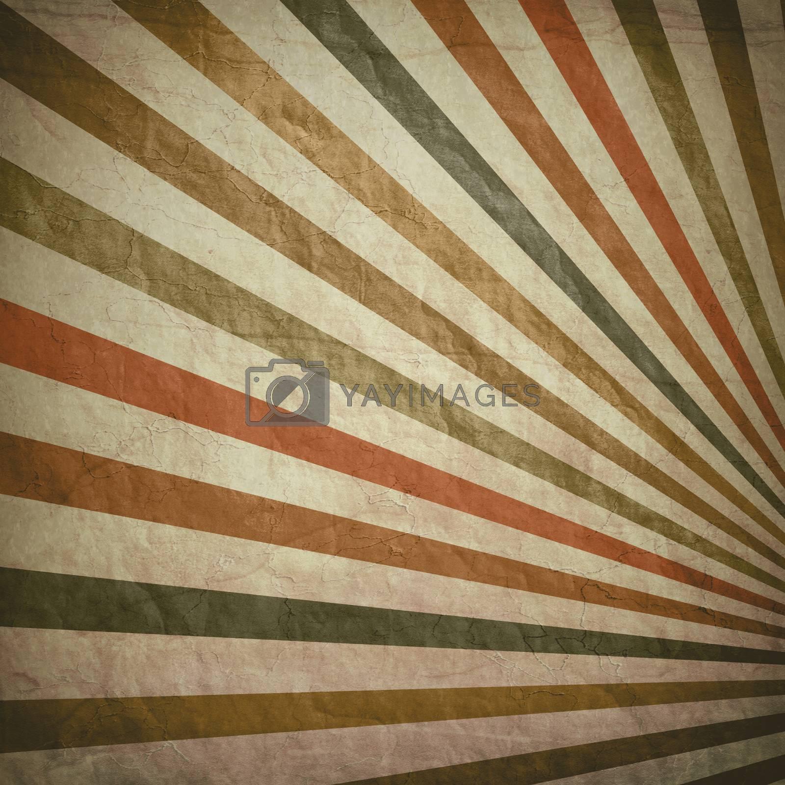 Multicolor Sunbeams grunge background. A vintage poster