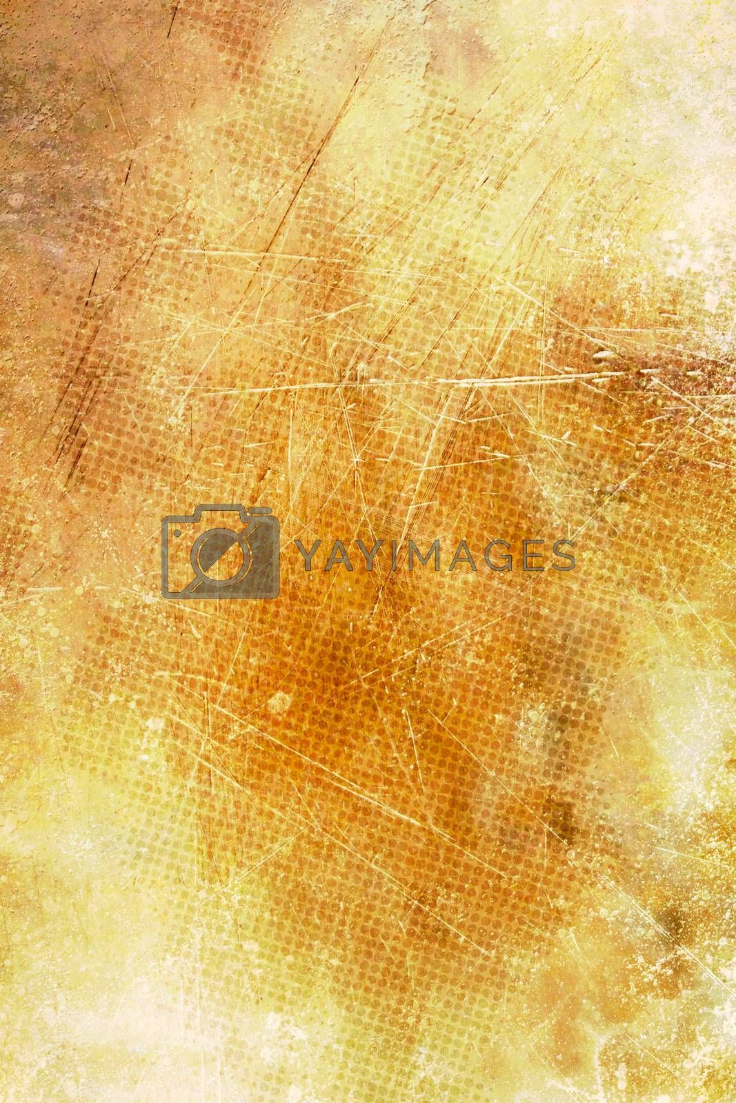 Grunge scratched yellow abstract textured background