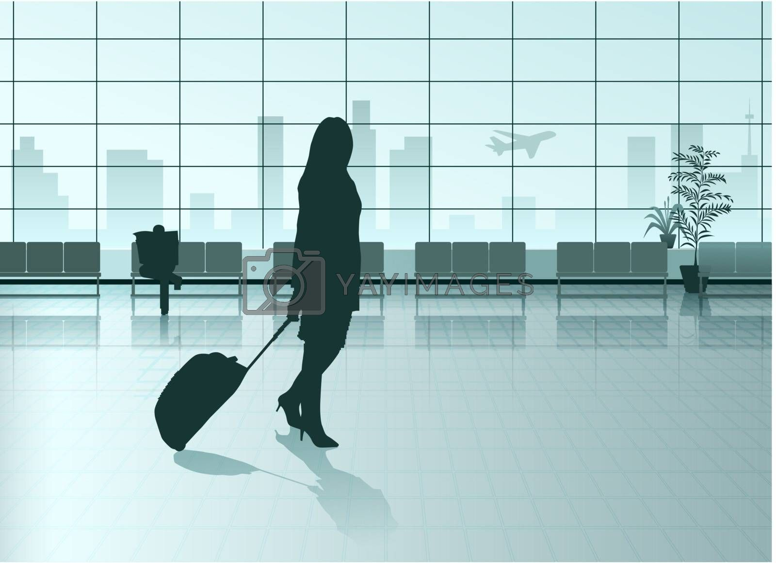 Vector Girl With The Suitcase in Airport Hall