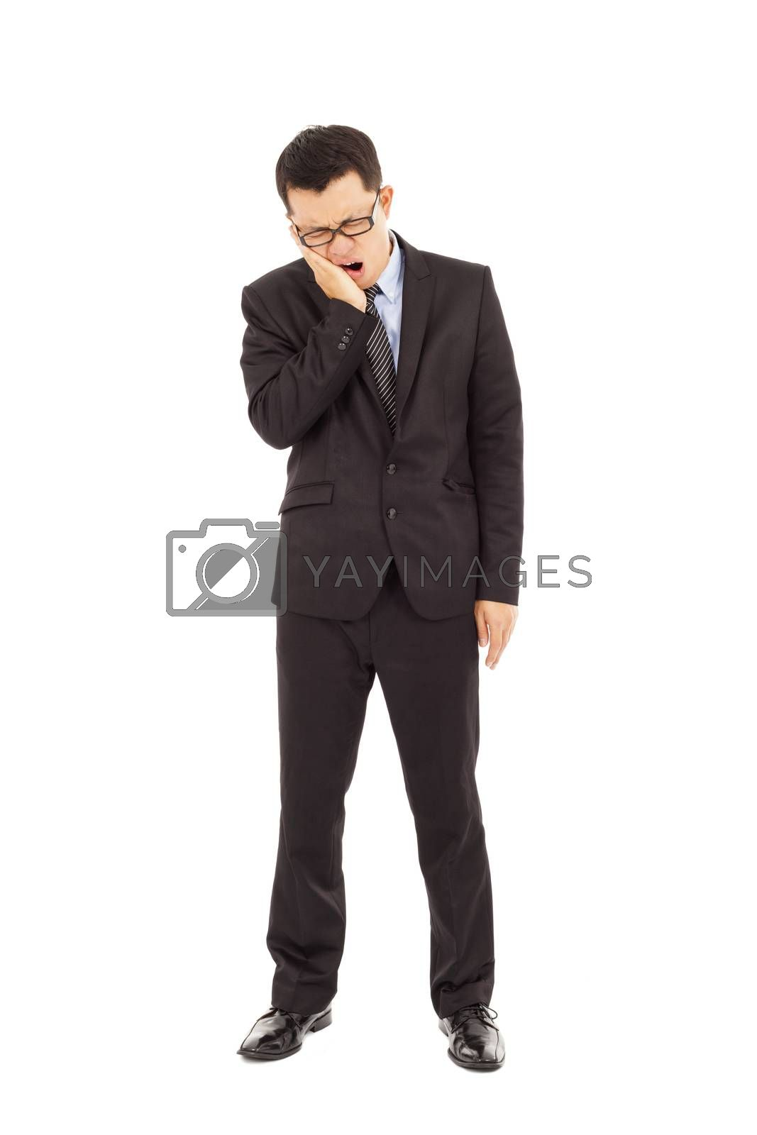 young businessman  in agony with a toothache