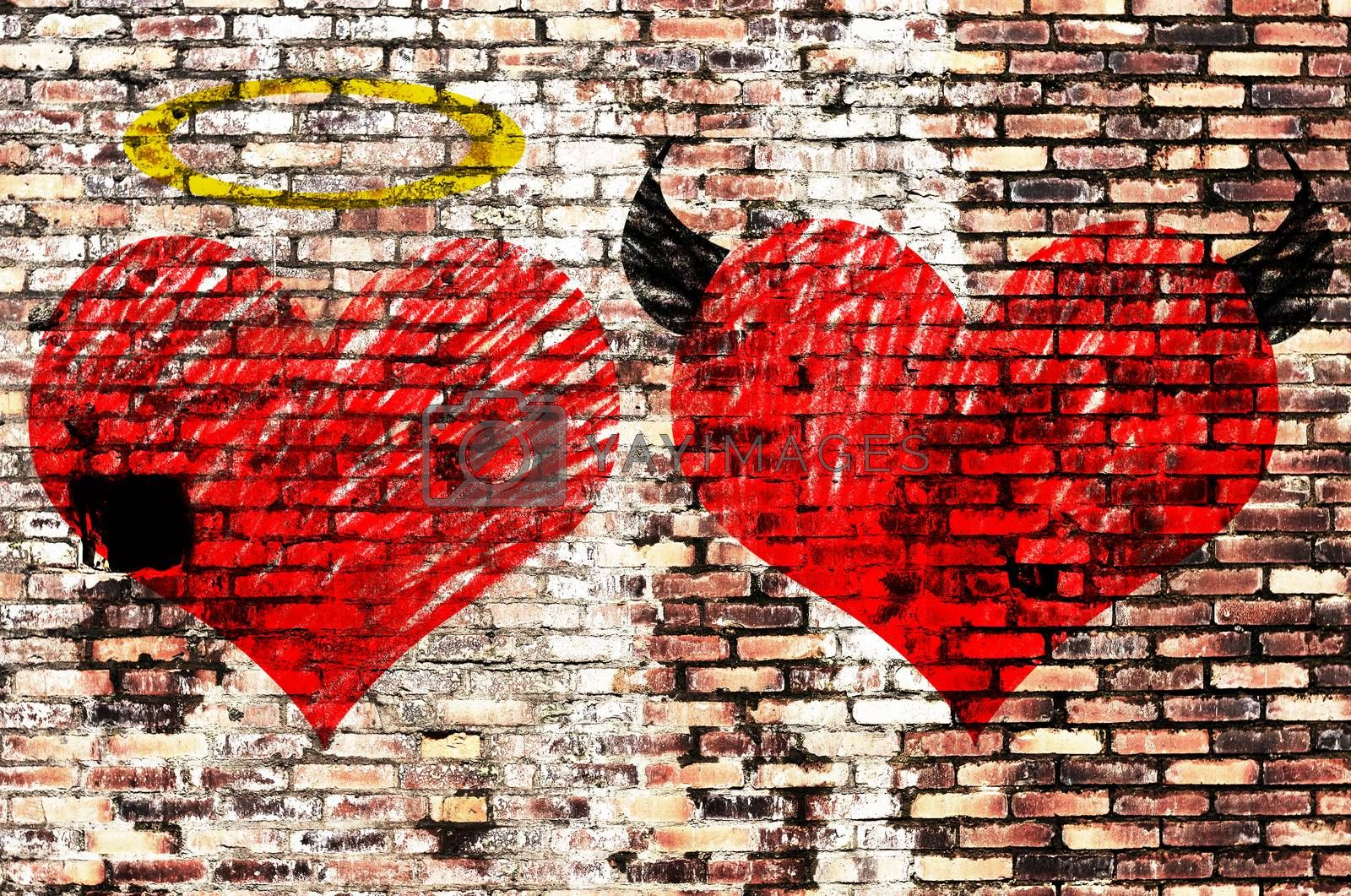Valentines day background wih two hearts - devil and angel