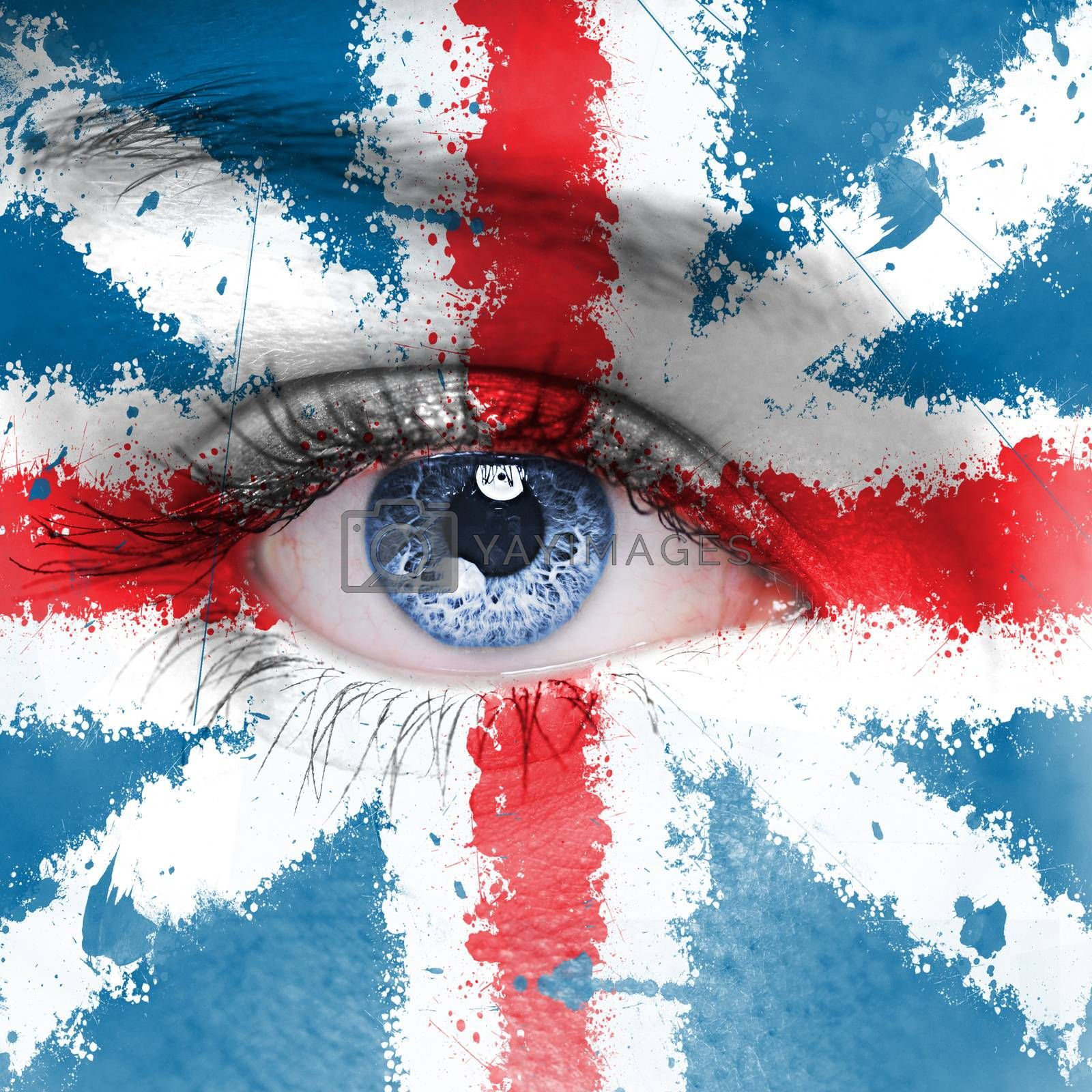 England flag painted on woman face