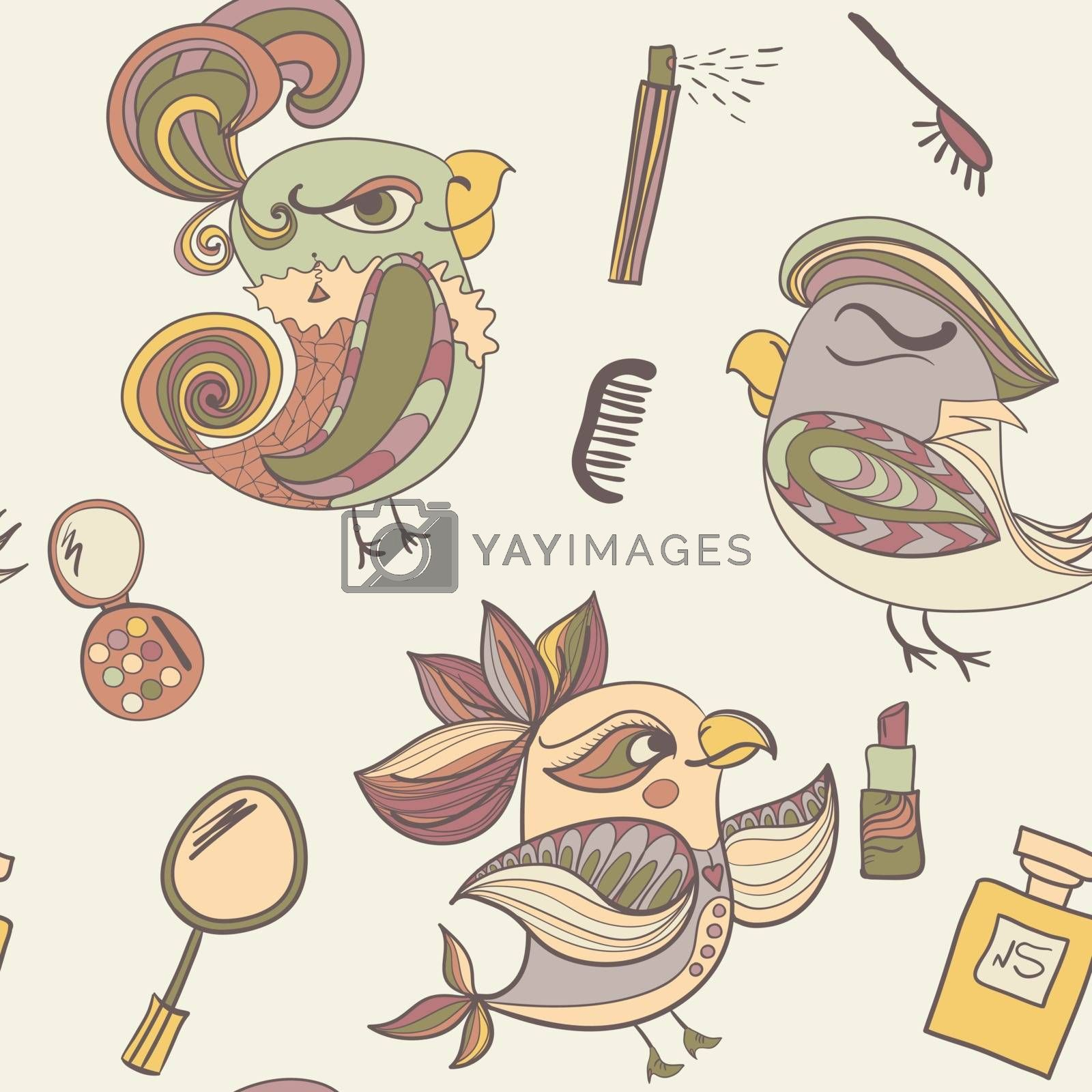 makeup cosmetics and fashion beautiful bird. Pale pastel color. Endless pattern. Can be used for wallpaper, pattern, backdrop, surface textures. color seamless background