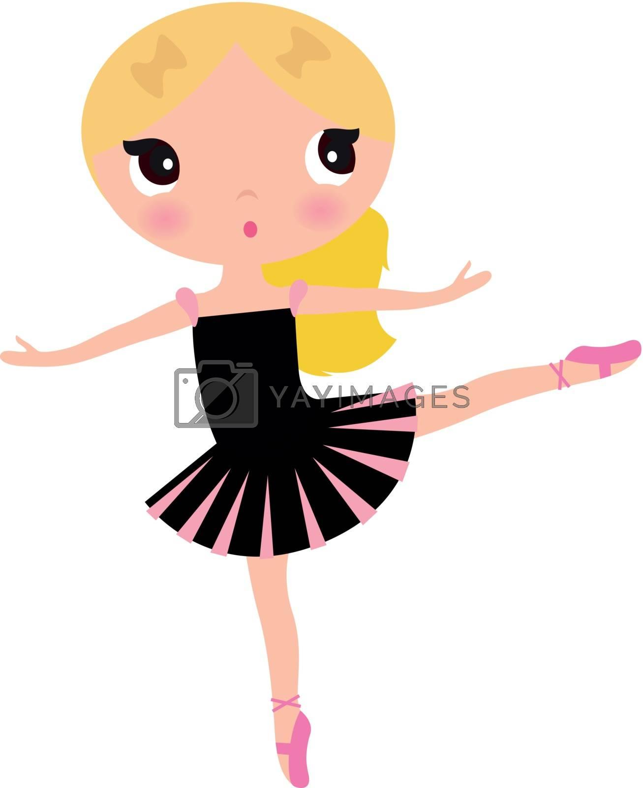 Stylish ballerina little Girl isolated on white. Vector cartoon Illustration