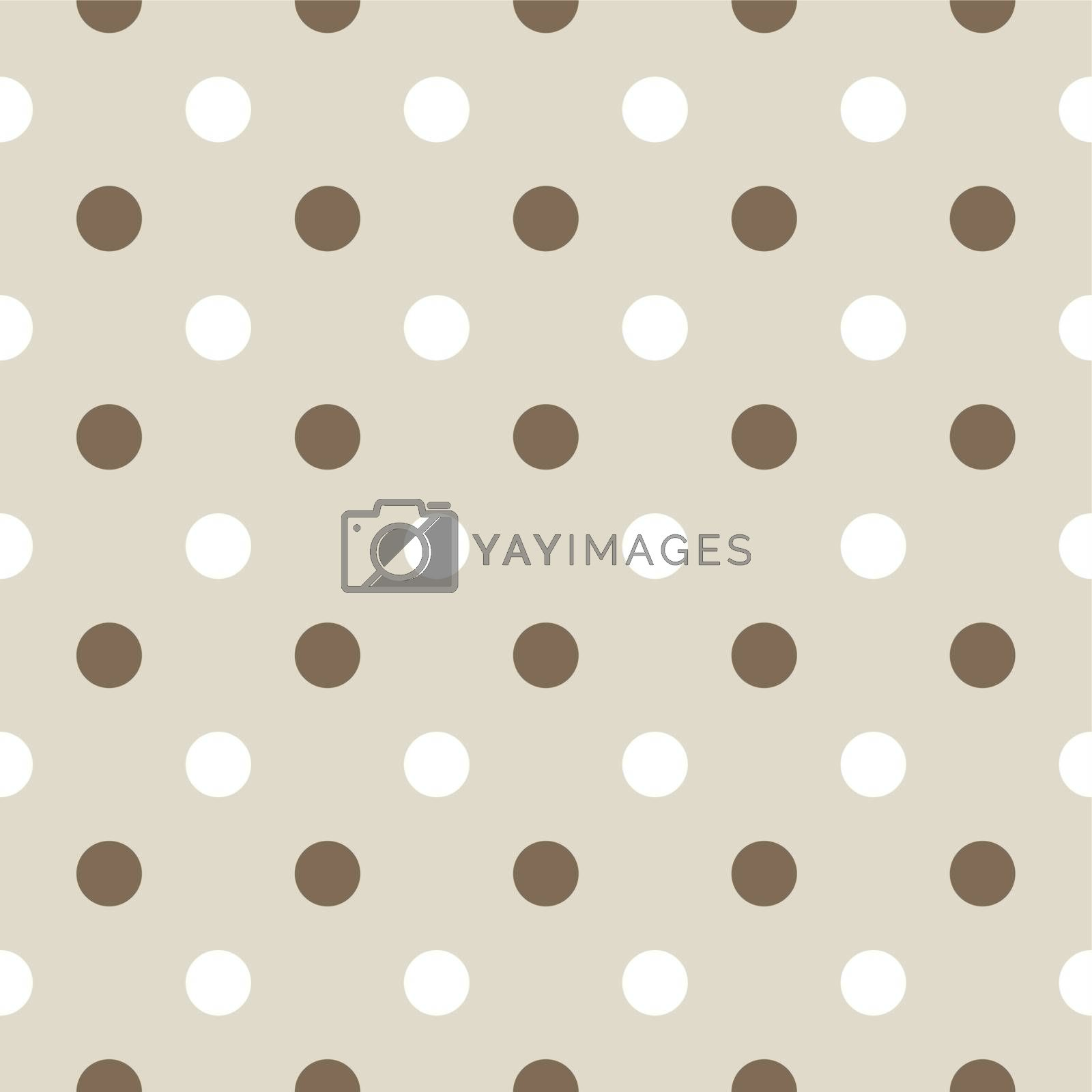 Dotted pattern or background with brown and white dots. Vector