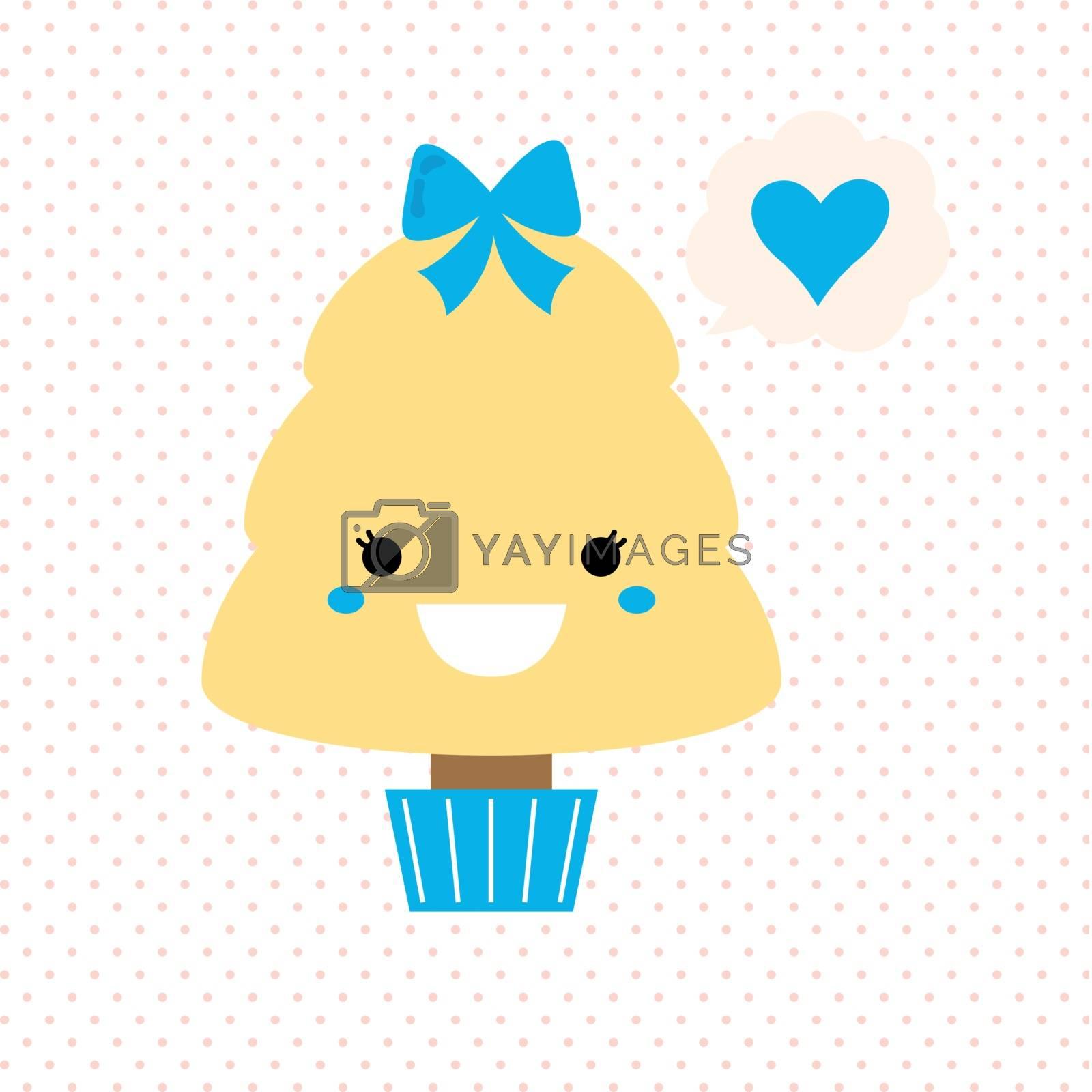 Stylized love kawaii tree - blue and yellow. Vector Illustration