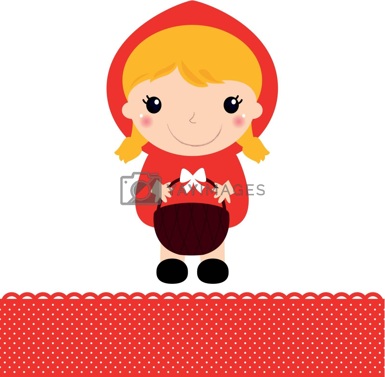 Cute beautiful Red riding hood with basket. Vector