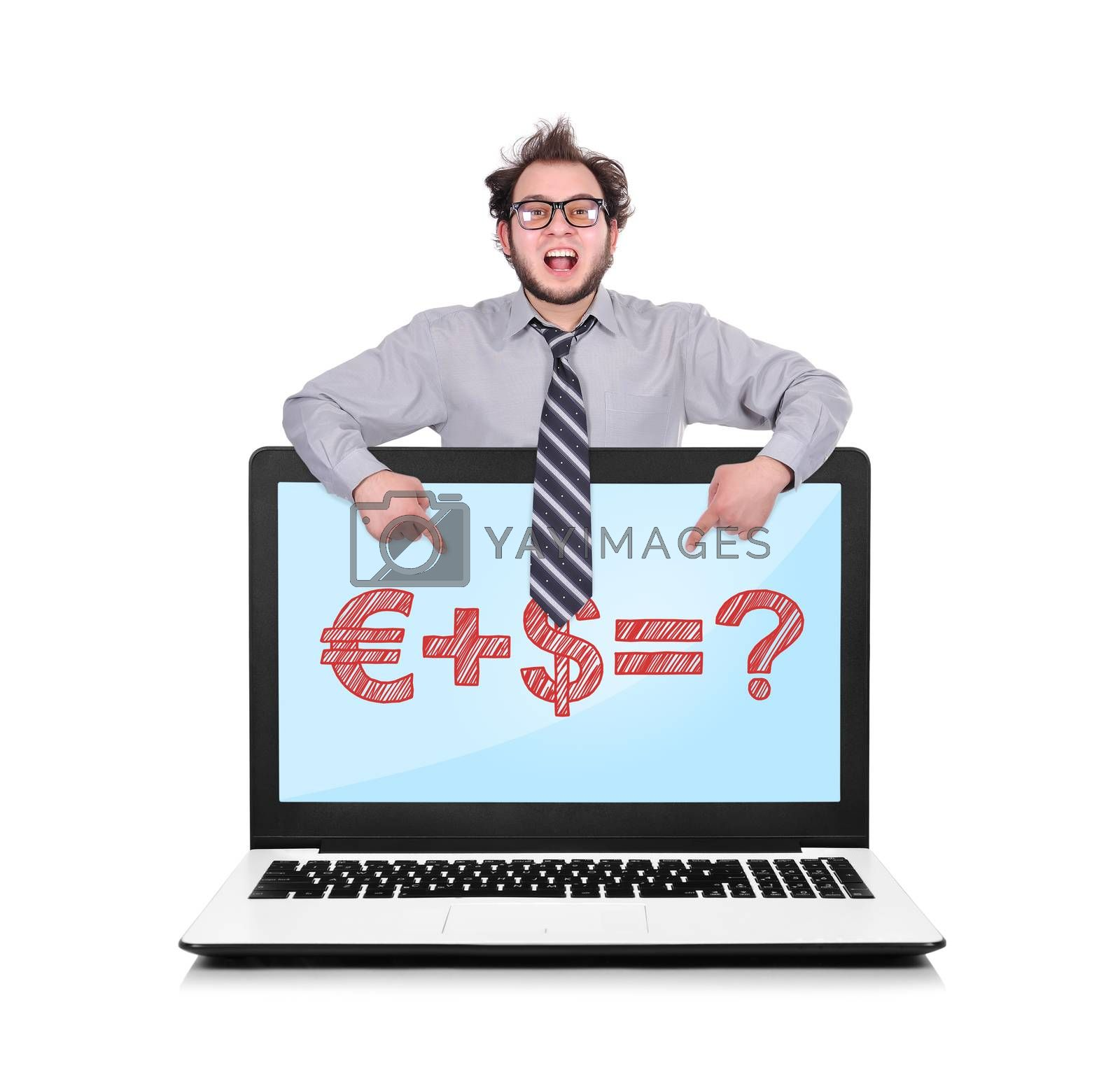 happy businessman pointing to laptop with business formula