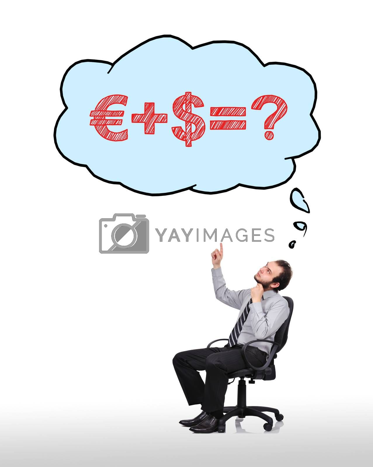businessman sitting in chair and pointing to cloud with formula