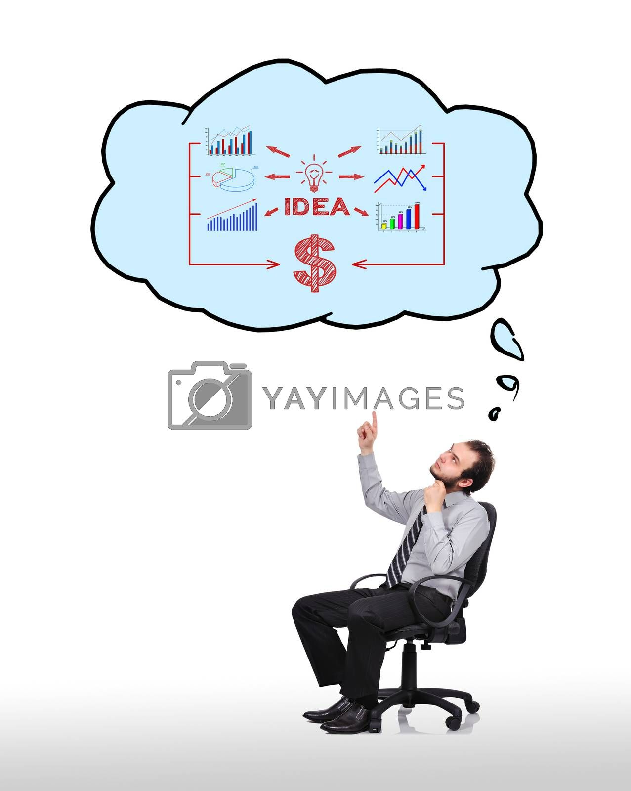 businessman sitting in chair and pointing to cloud with  business concept