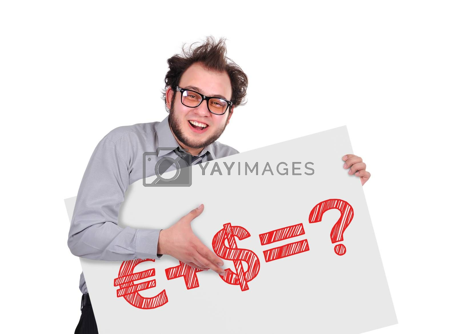 crazy businessman holding signboard with business formula