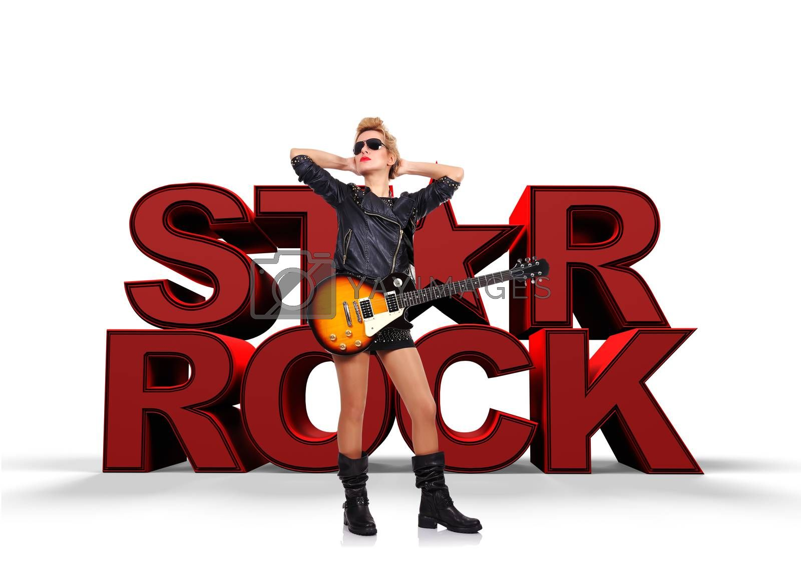 rock star, young  girl with electric guitar