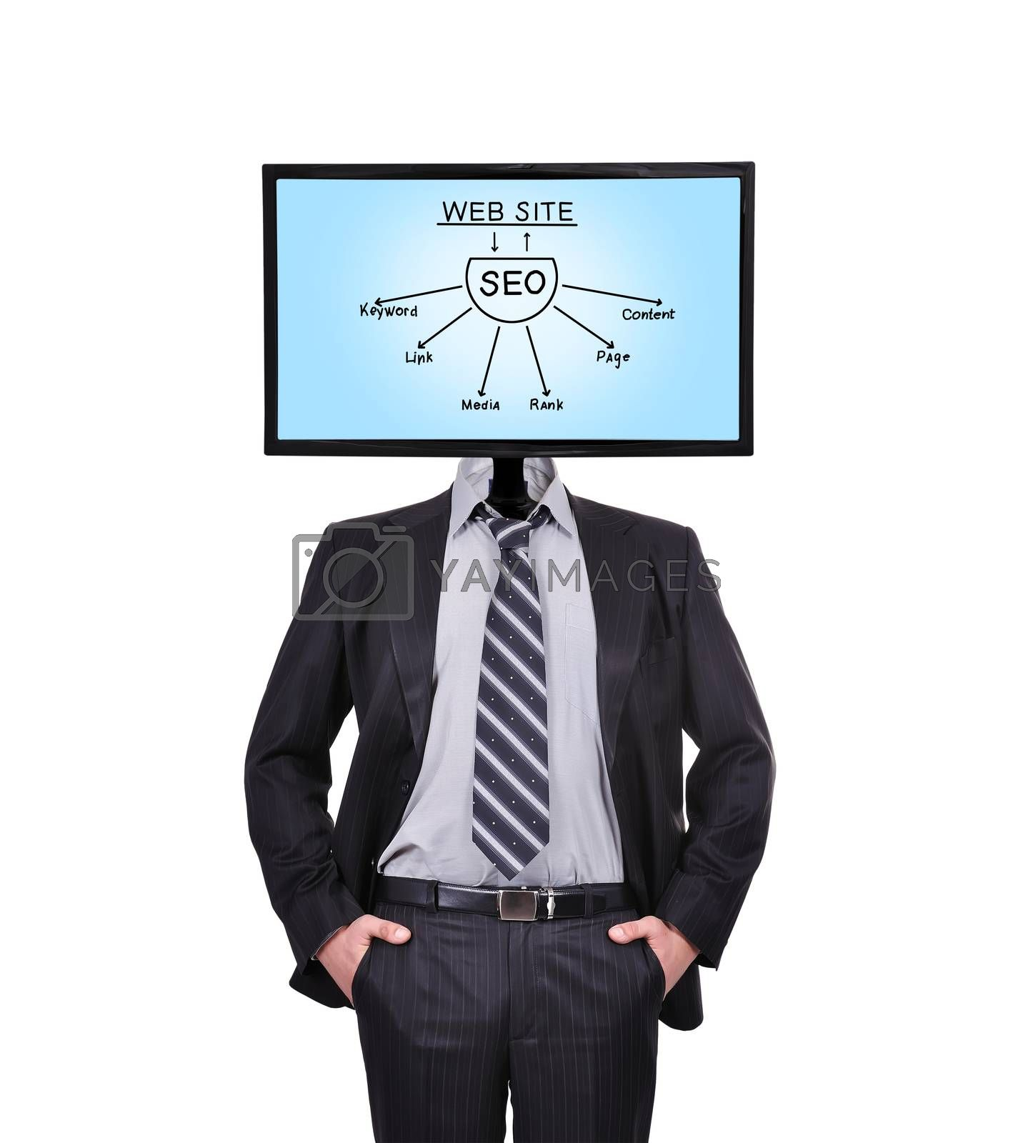 businessman and monitor with seo plan for a head