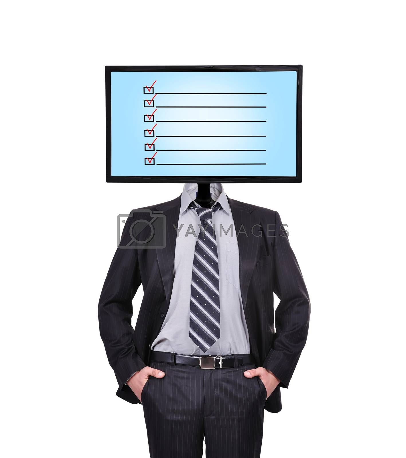businessman and monitor with check box for a head