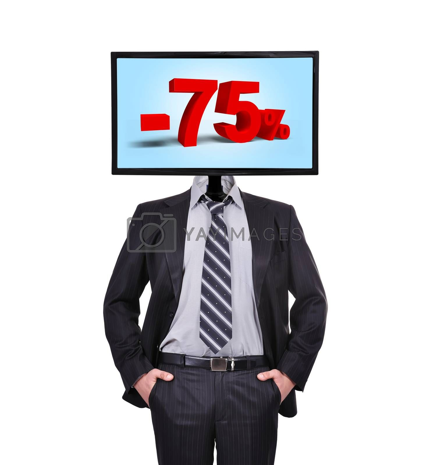 businessman and monitor with discount for a head