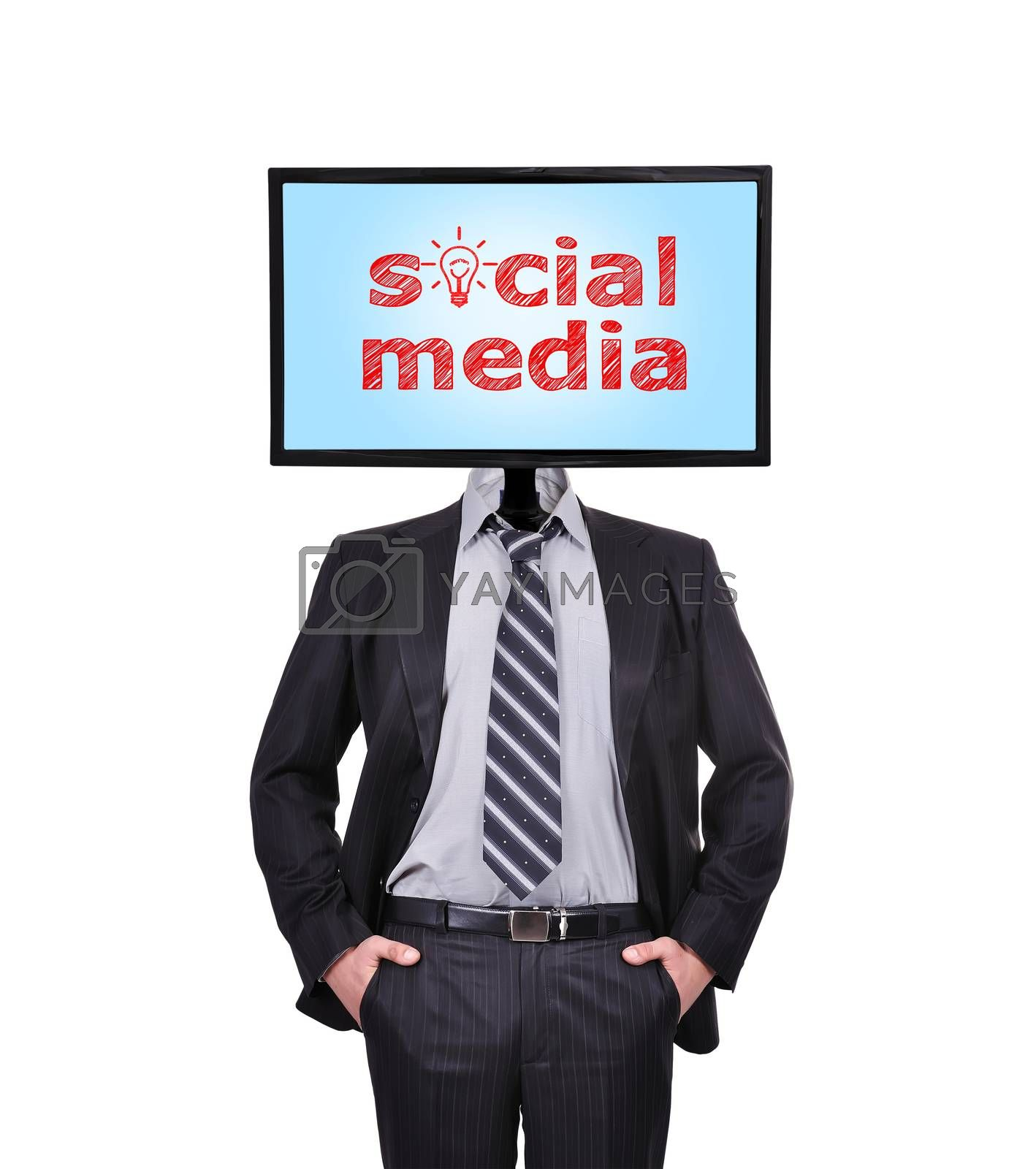 businessman and monitor with social media for a head
